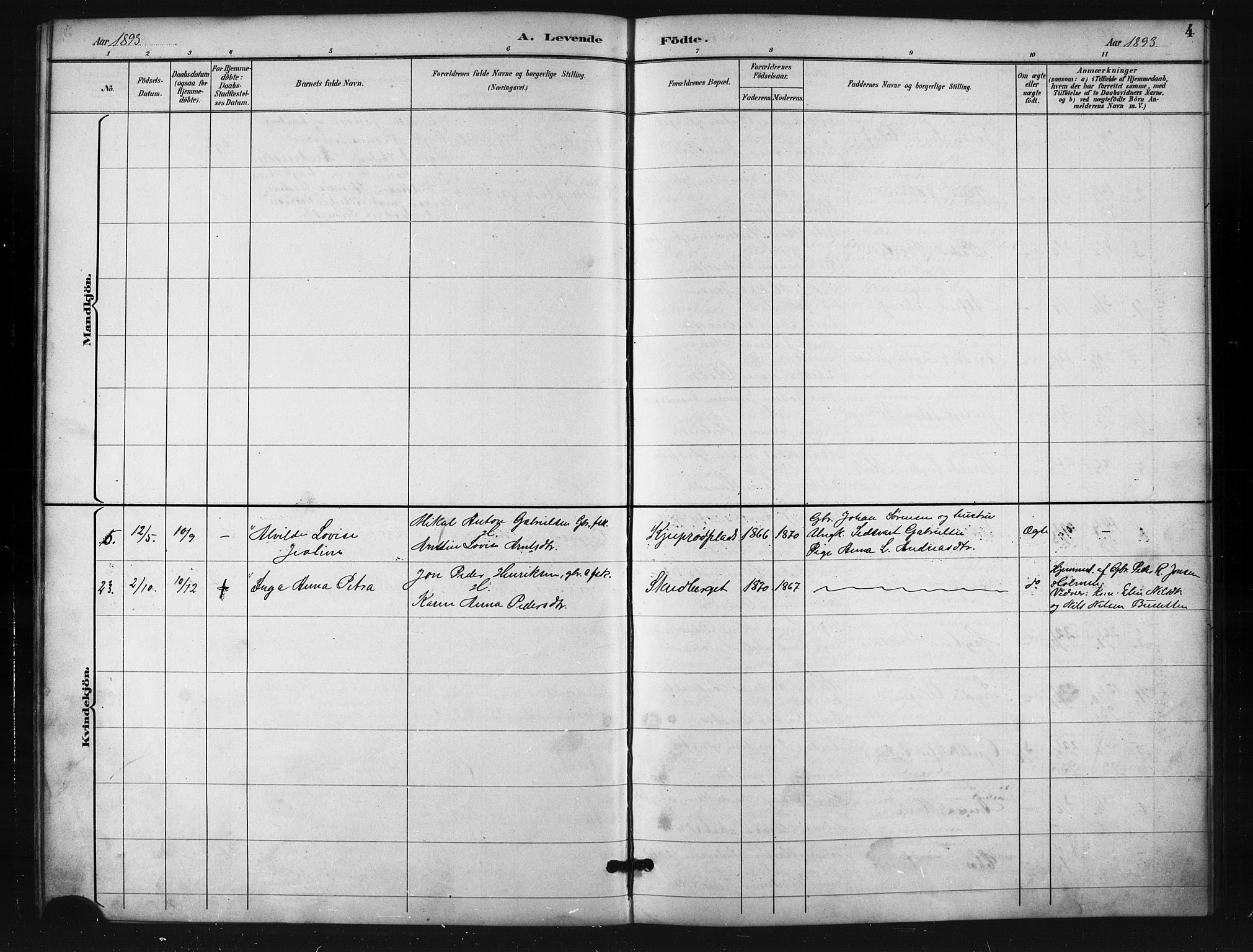 SATØ, Salangen sokneprestembete, H/Ha/L0001klokker: Klokkerbok nr. 1, 1893-1910, s. 4