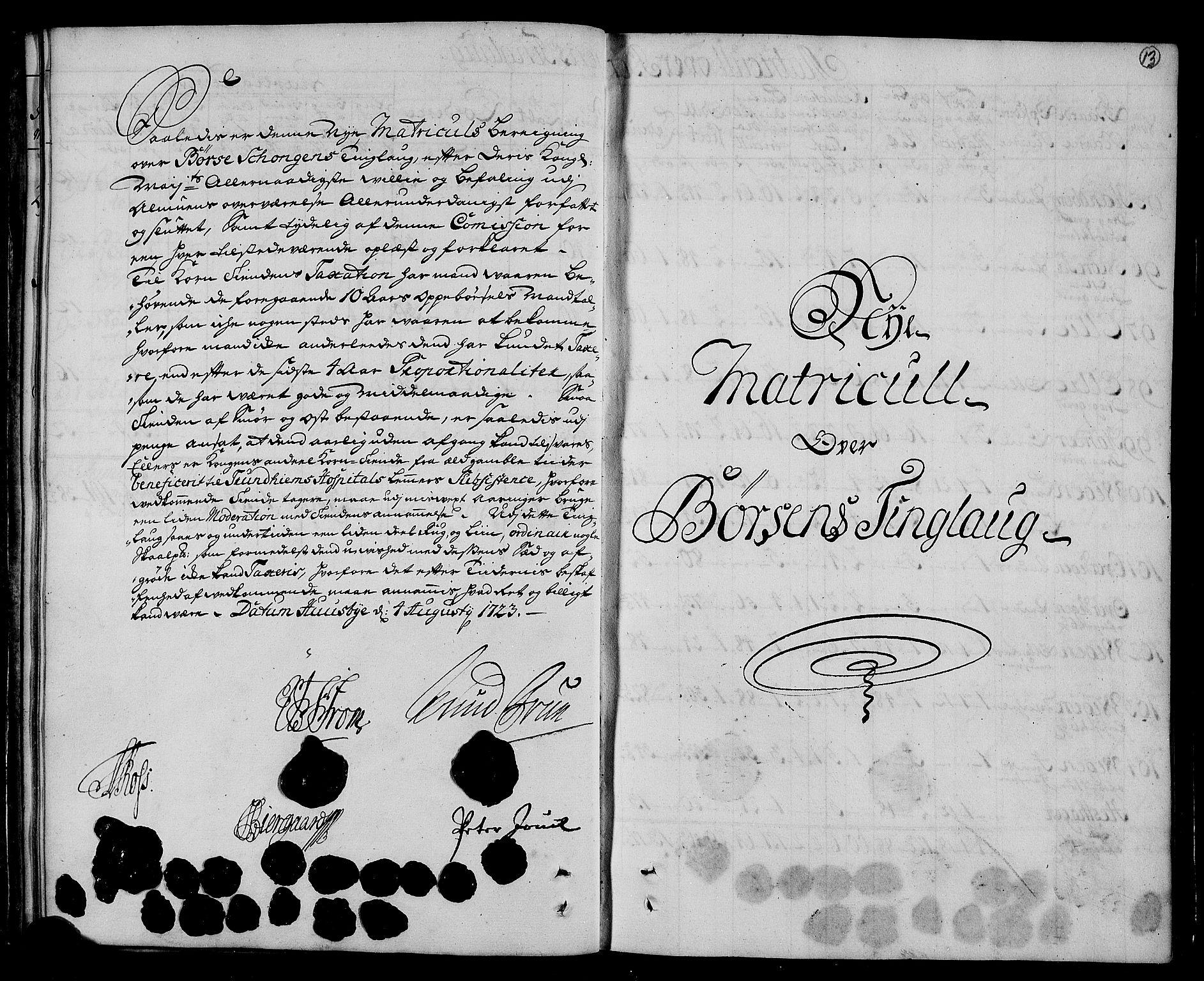 RA, Rentekammeret inntil 1814, Realistisk ordnet avdeling, N/Nb/Nbf/L0161: Strinda og Selbu matrikkelprotokoll, 1723, s. 12b-13a