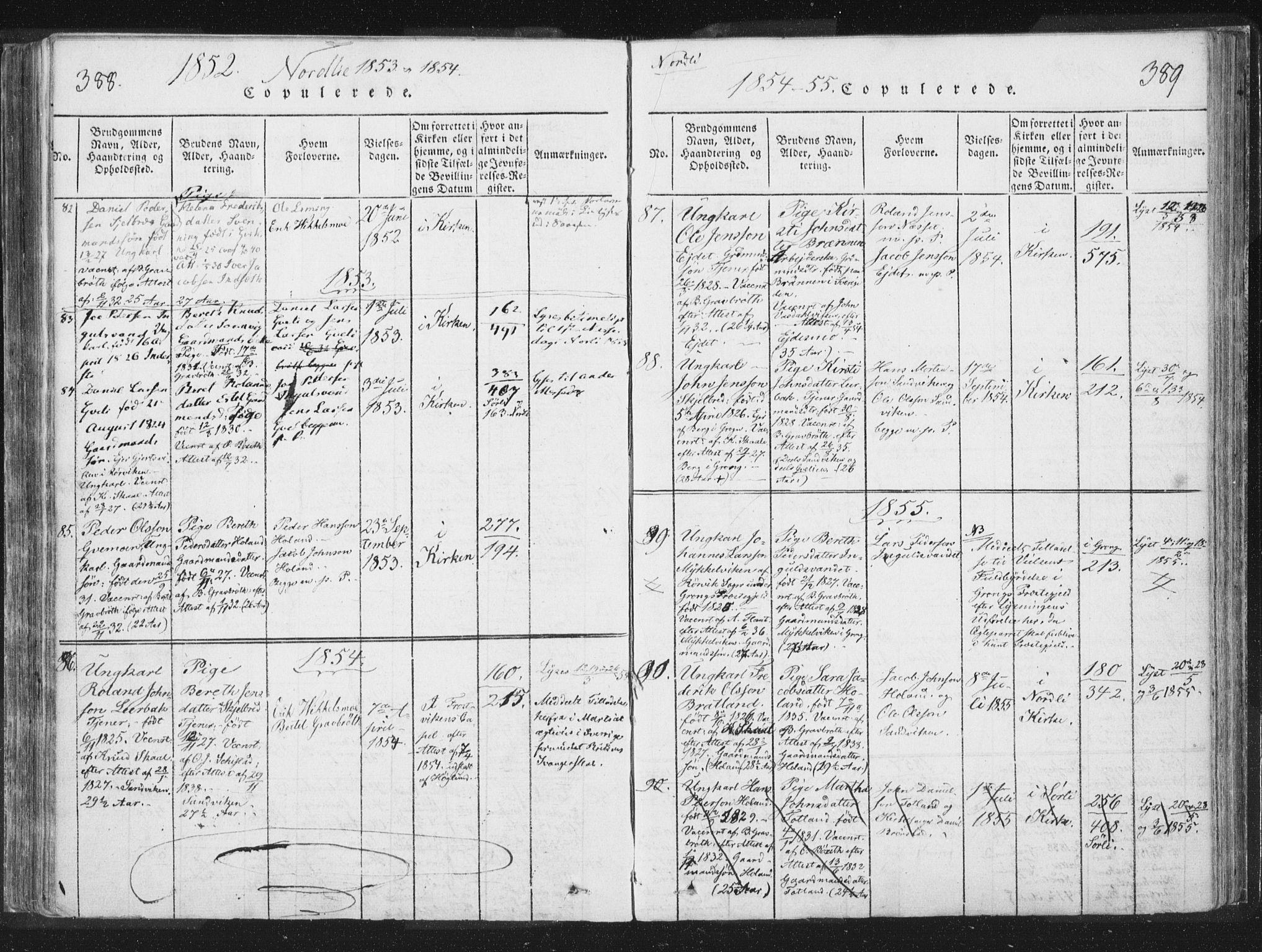 SAT, Ministerialprotokoller, klokkerbøker og fødselsregistre - Nord-Trøndelag, 755/L0491: Ministerialbok nr. 755A01 /1, 1817-1864, s. 388-389