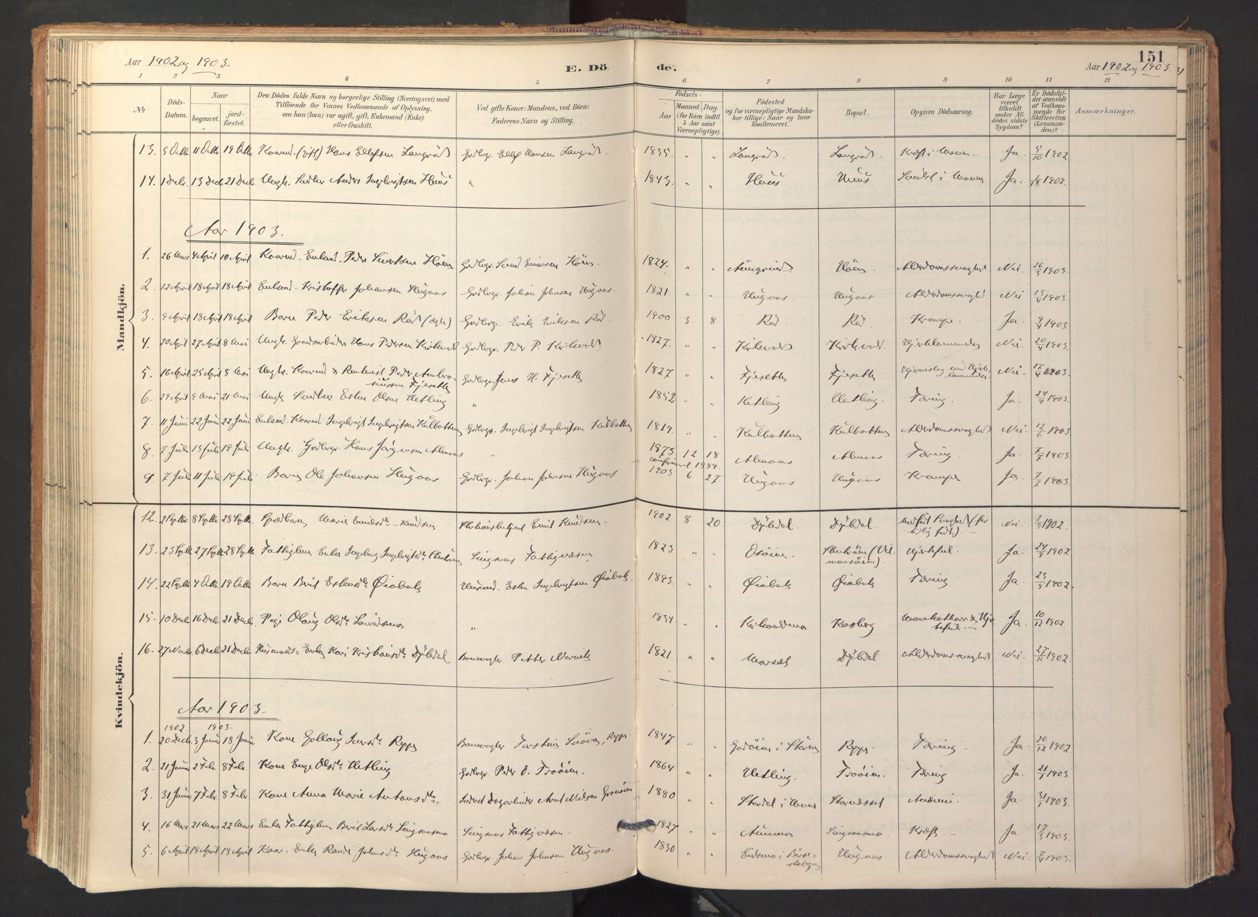 SAT, Ministerialprotokoller, klokkerbøker og fødselsregistre - Sør-Trøndelag, 688/L1025: Ministerialbok nr. 688A02, 1891-1909, s. 151