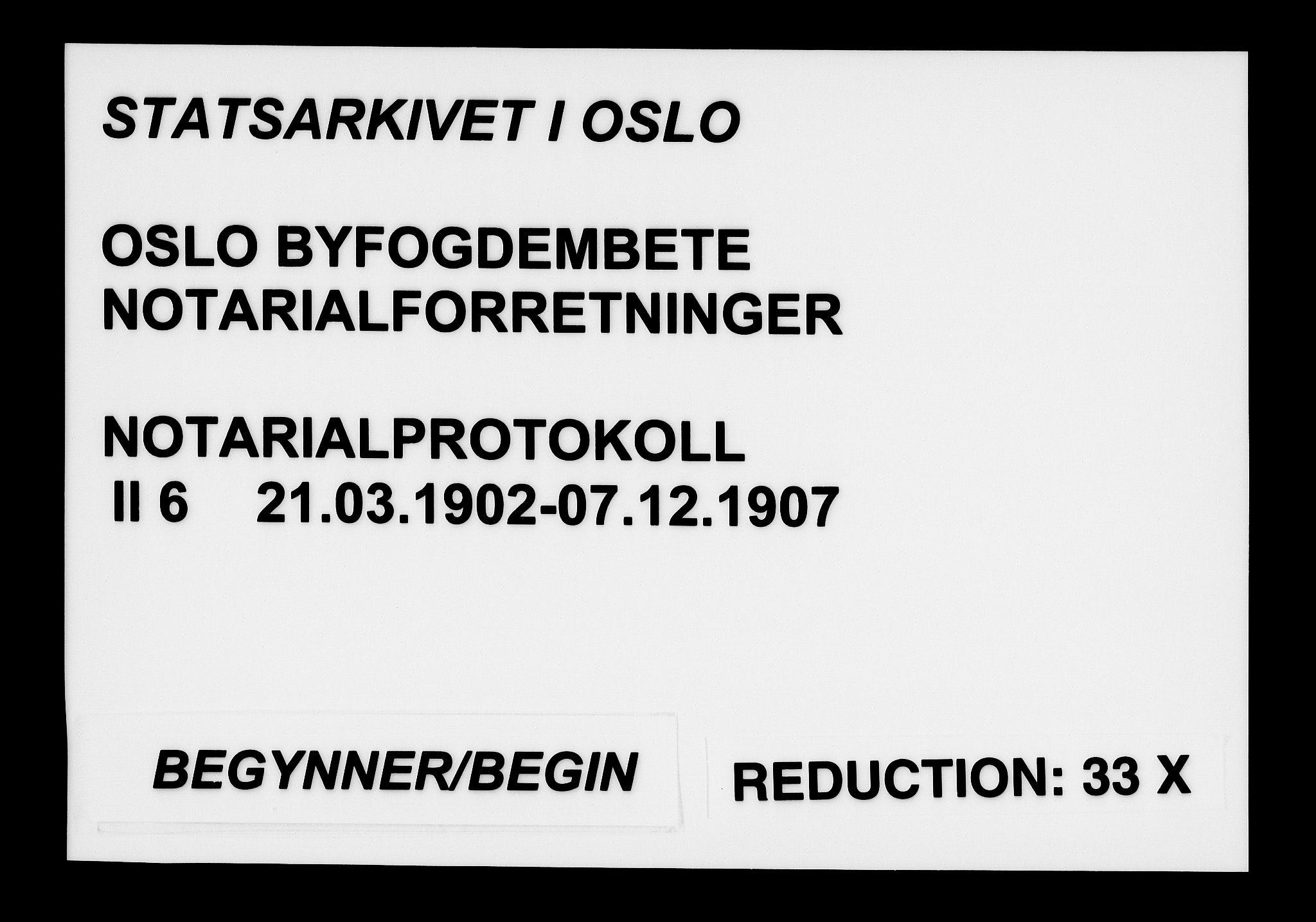 SAO, Oslo byfogd avd. I, L/Lb/Lbb/L0006: Notarialprotokoll, rekke II: Vigsler, 1902-1907, s. upaginert