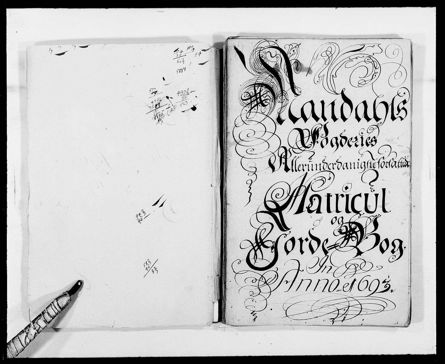 RA, Rentekammeret inntil 1814, Reviderte regnskaper, Fogderegnskap, R42/L2544: Mandal fogderi, 1692-1693, s. 193