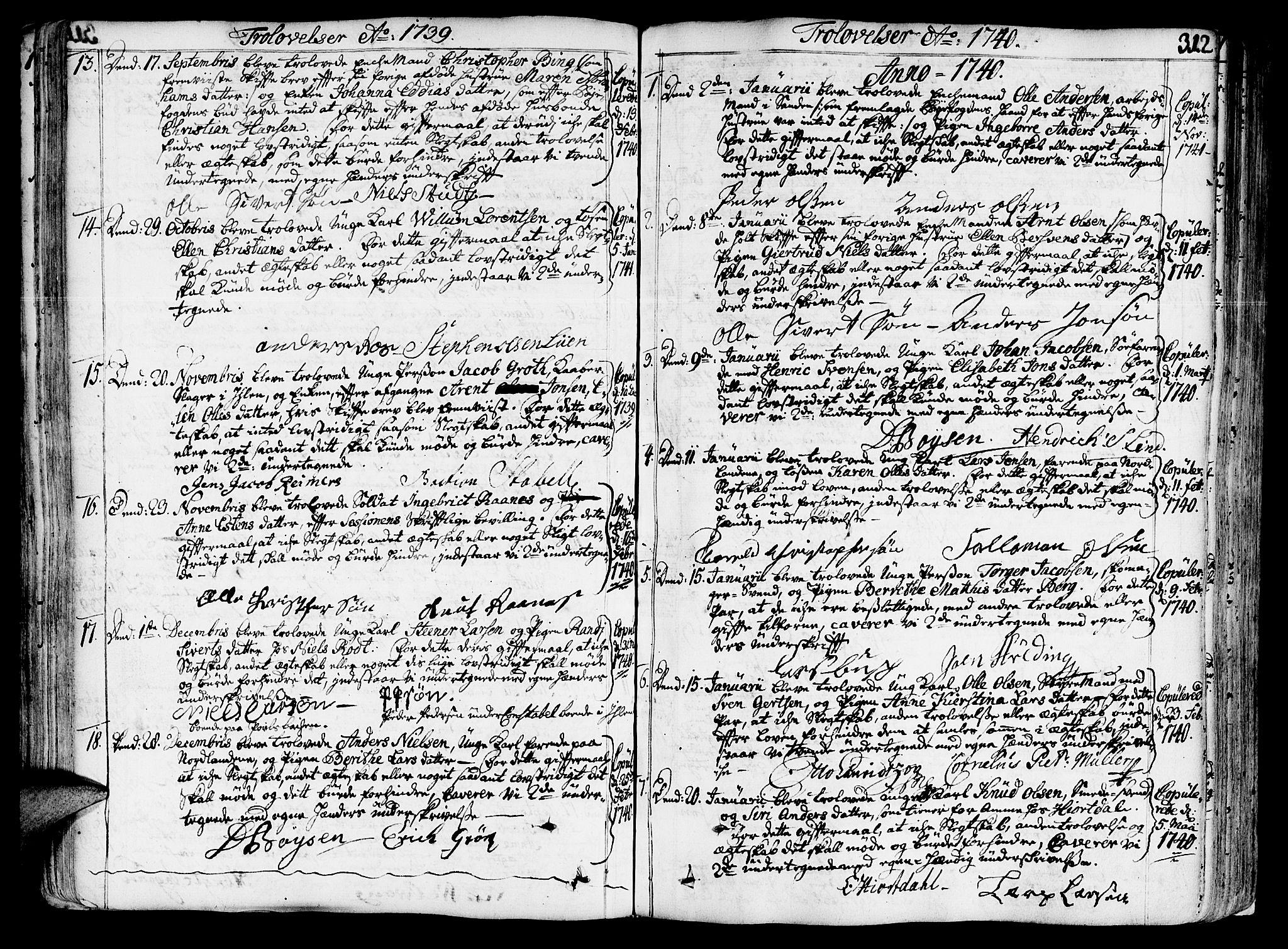 SAT, Ministerialprotokoller, klokkerbøker og fødselsregistre - Sør-Trøndelag, 602/L0103: Ministerialbok nr. 602A01, 1732-1774, s. 312