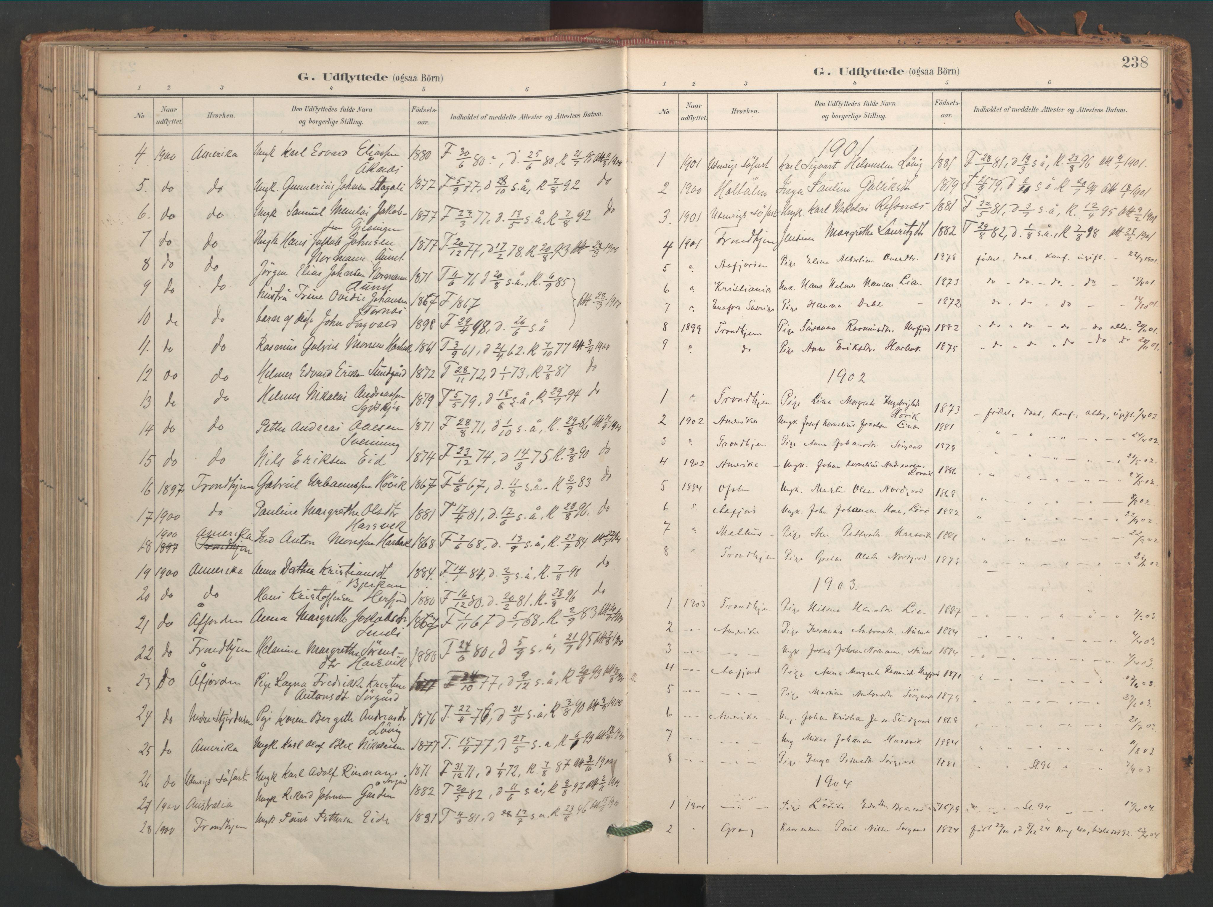 SAT, Ministerialprotokoller, klokkerbøker og fødselsregistre - Sør-Trøndelag, 656/L0693: Ministerialbok nr. 656A02, 1894-1913, s. 238