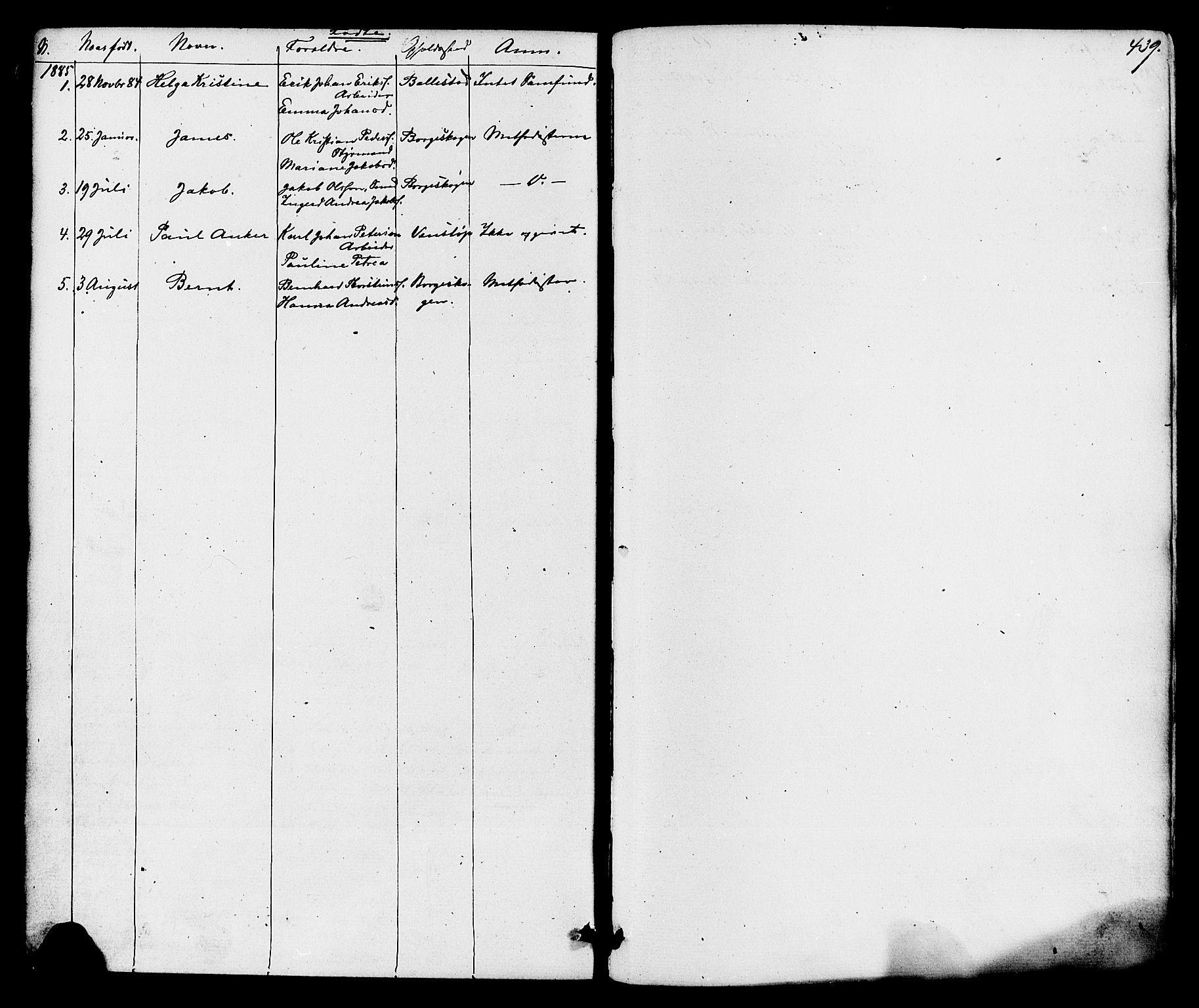 SAKO, Gjerpen kirkebøker, F/Fa/L0009: Ministerialbok nr. 9, 1872-1885, s. 439