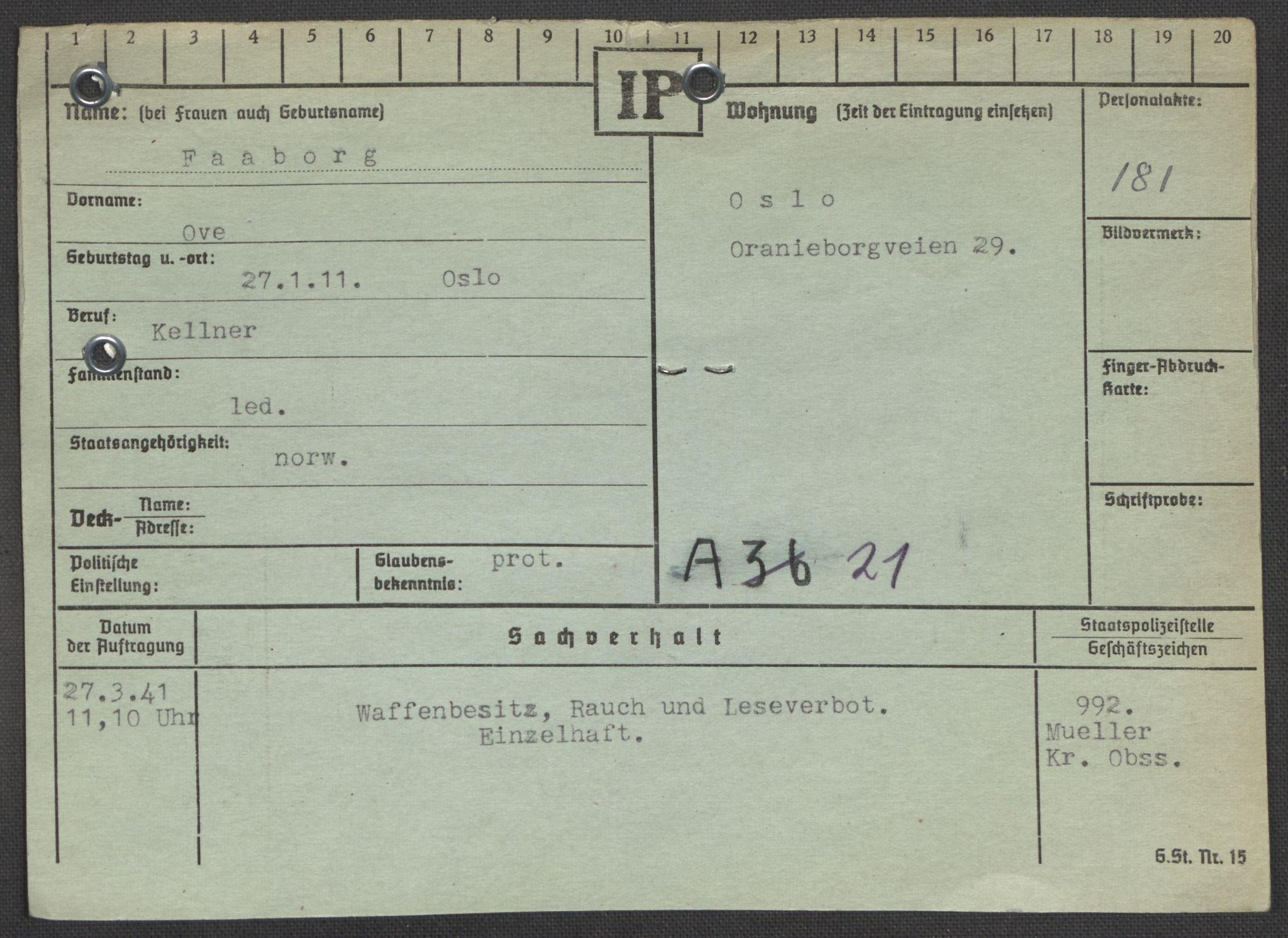 RA, Befehlshaber der Sicherheitspolizei und des SD, E/Ea/Eaa/L0003: Register over norske fanger i Møllergata 19: Eng-Hag, 1940-1945, s. 697