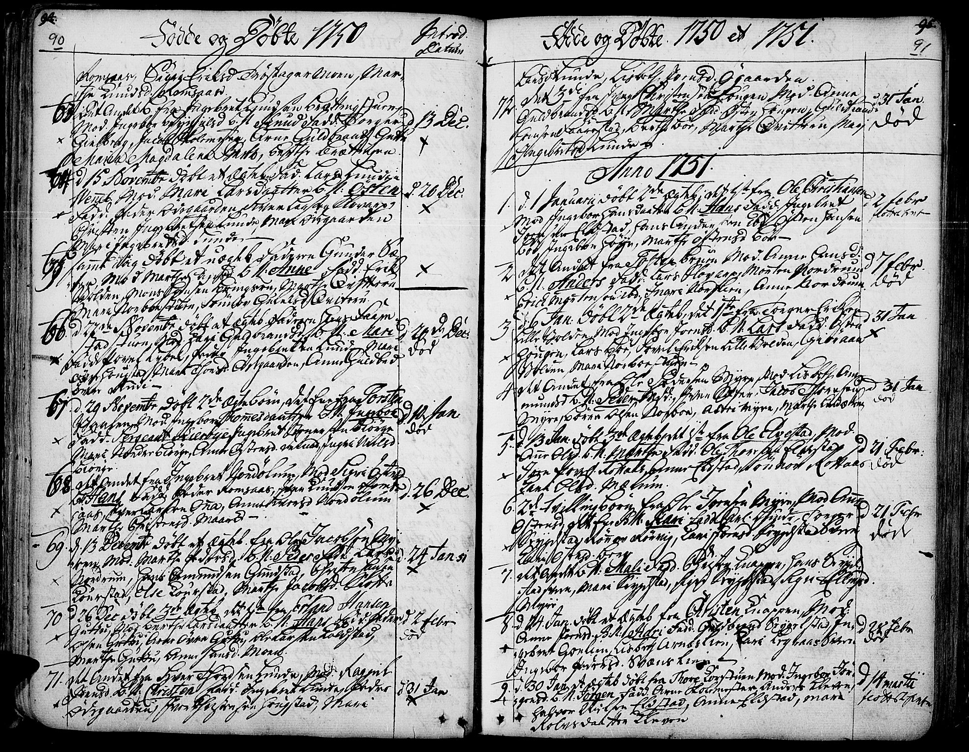 SAH, Ringebu prestekontor, Ministerialbok nr. 2, 1734-1780, s. 90-91