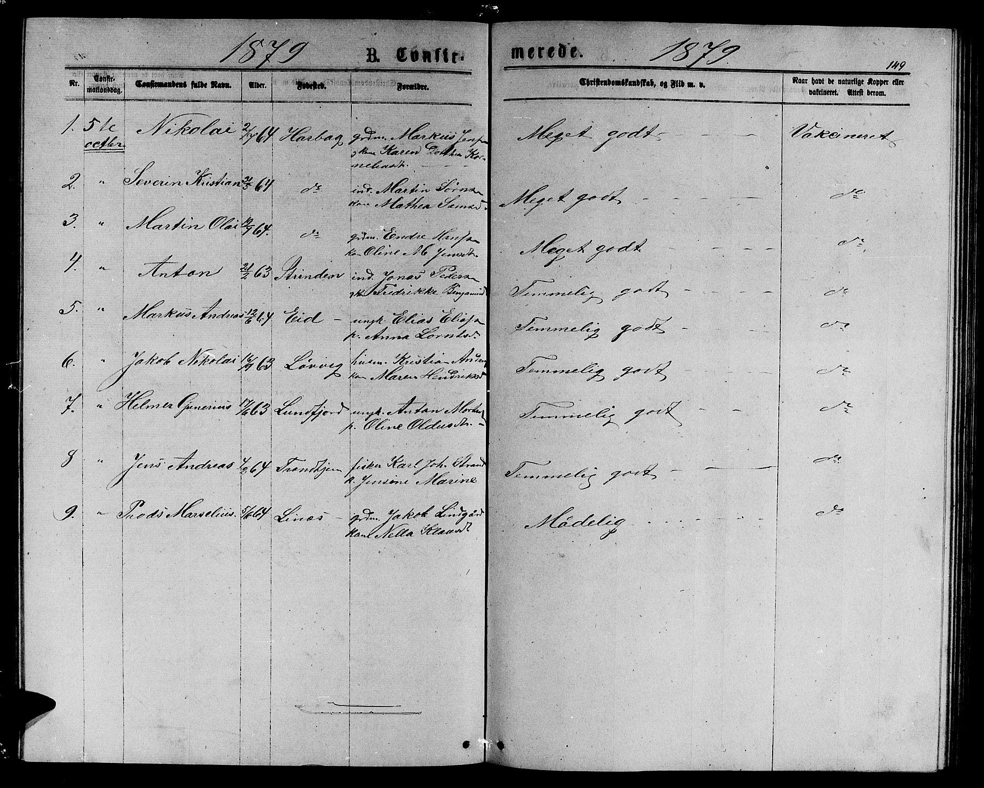 SAT, Ministerialprotokoller, klokkerbøker og fødselsregistre - Sør-Trøndelag, 656/L0695: Klokkerbok nr. 656C01, 1867-1889, s. 149