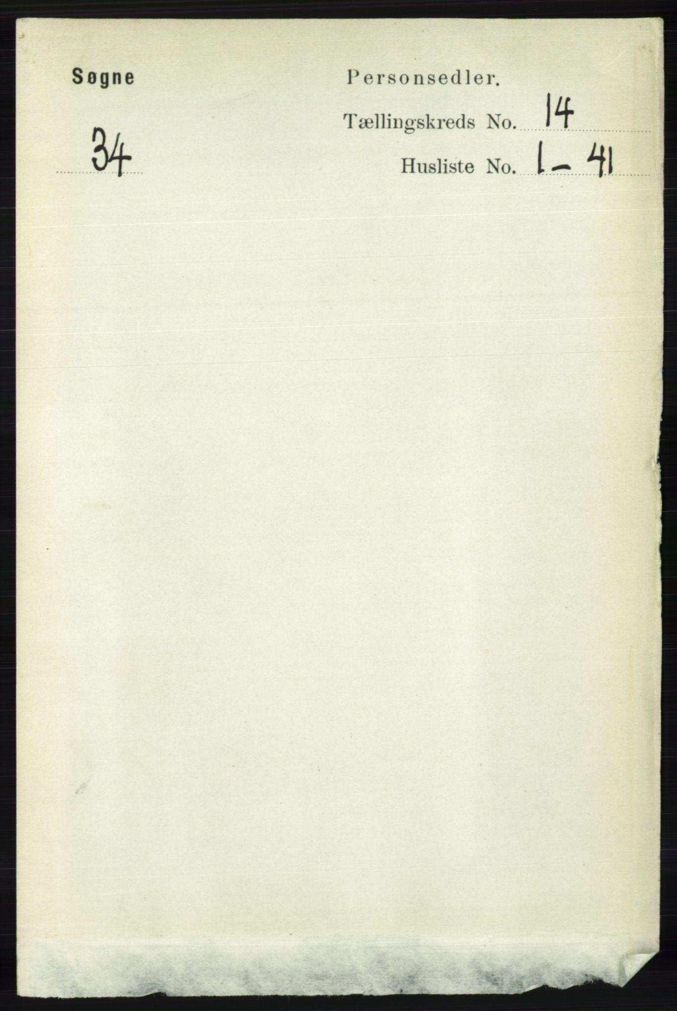 RA, Folketelling 1891 for 1018 Søgne herred, 1891, s. 3403