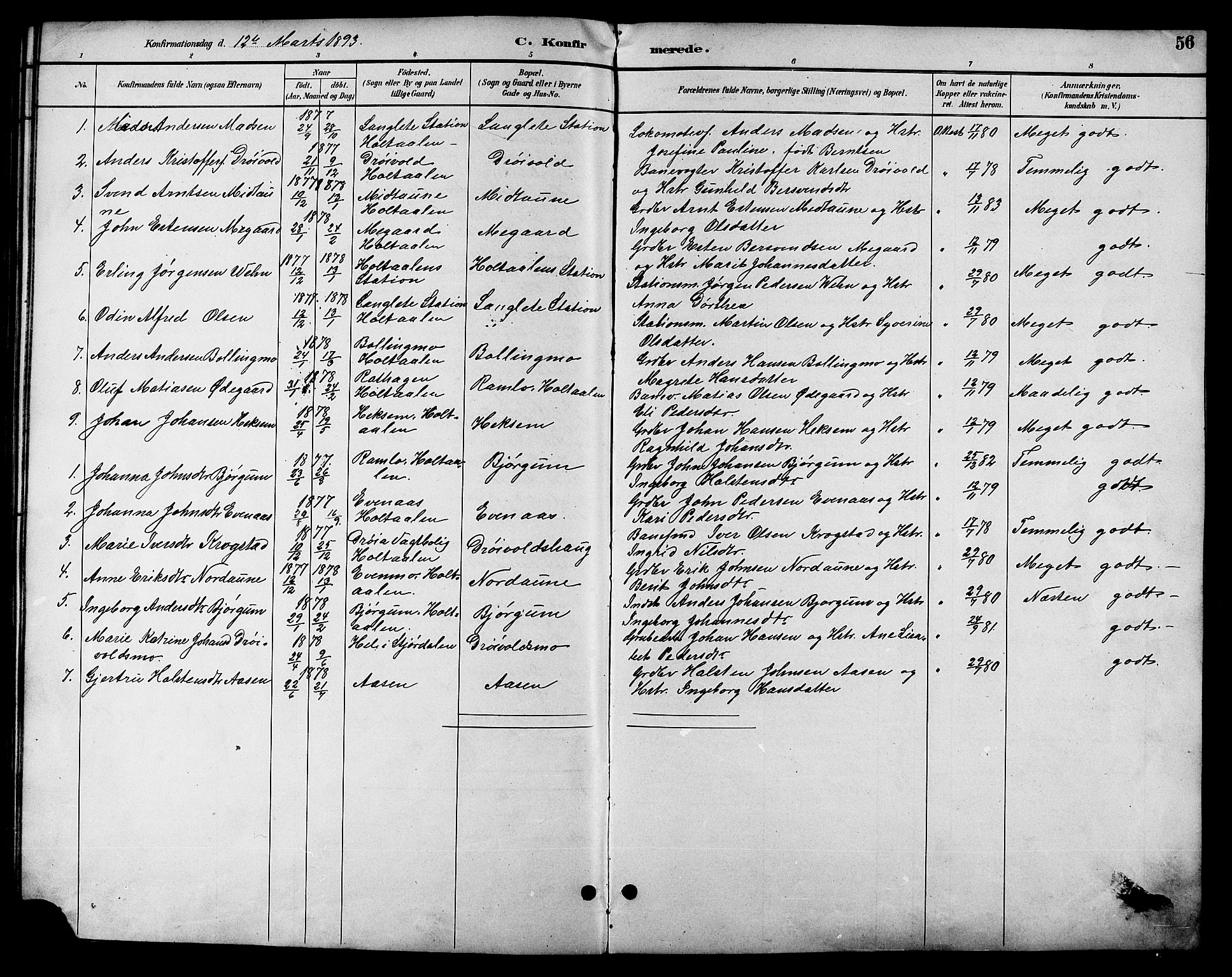 SAT, Ministerialprotokoller, klokkerbøker og fødselsregistre - Sør-Trøndelag, 685/L0978: Klokkerbok nr. 685C03, 1891-1907, s. 56