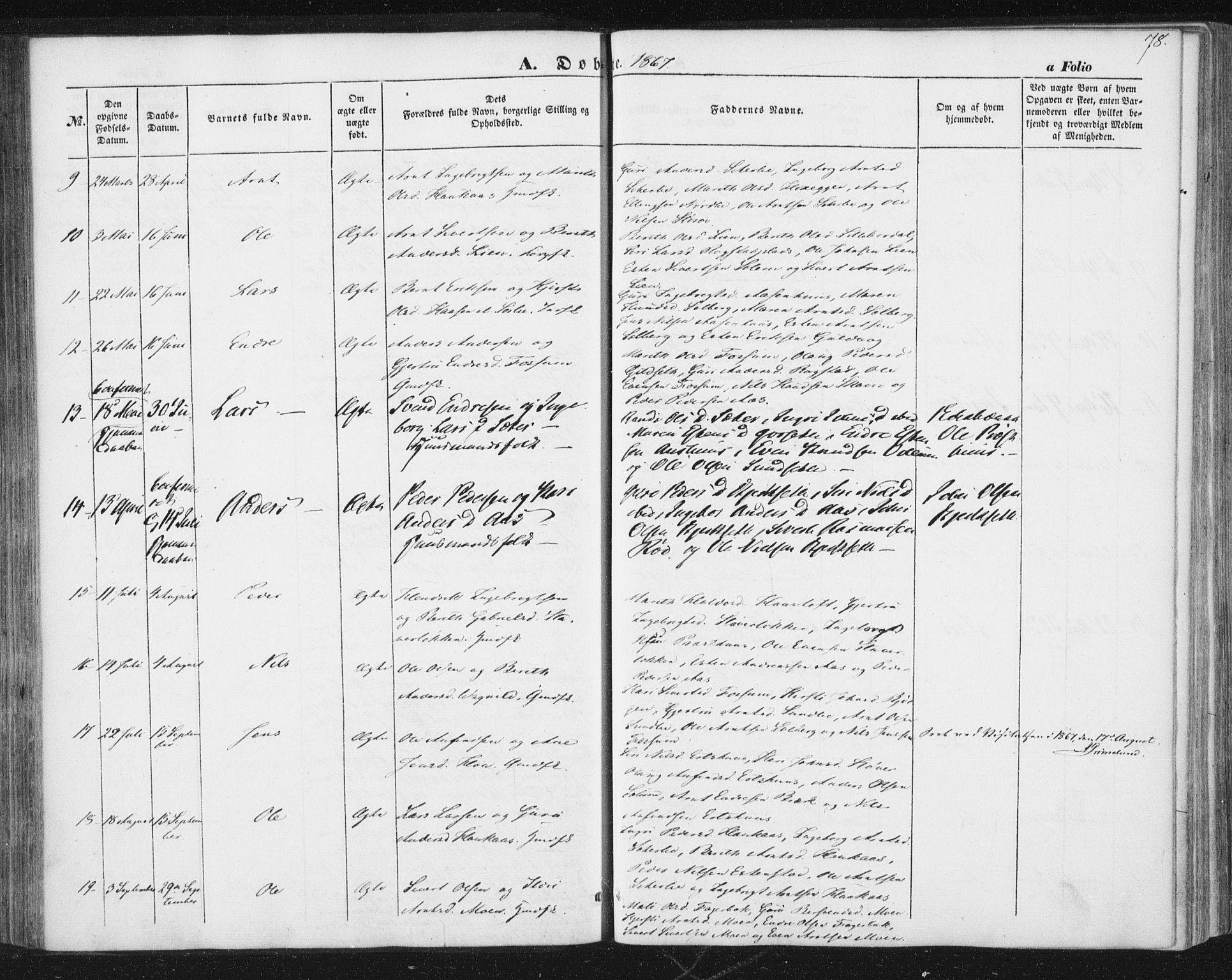 SAT, Ministerialprotokoller, klokkerbøker og fødselsregistre - Sør-Trøndelag, 689/L1038: Ministerialbok nr. 689A03, 1848-1872, s. 78