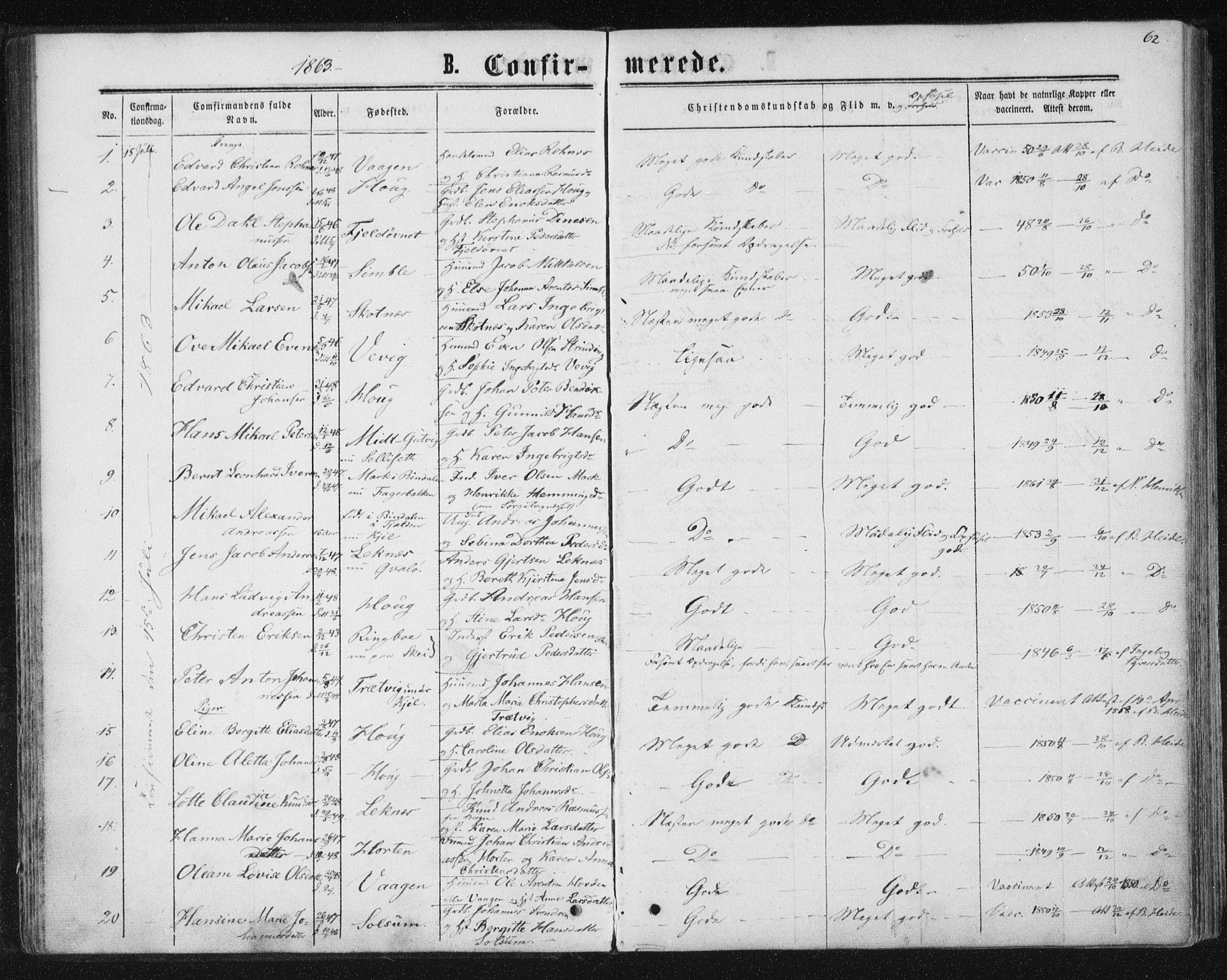 SAT, Ministerialprotokoller, klokkerbøker og fødselsregistre - Nord-Trøndelag, 788/L0696: Ministerialbok nr. 788A03, 1863-1877, s. 62