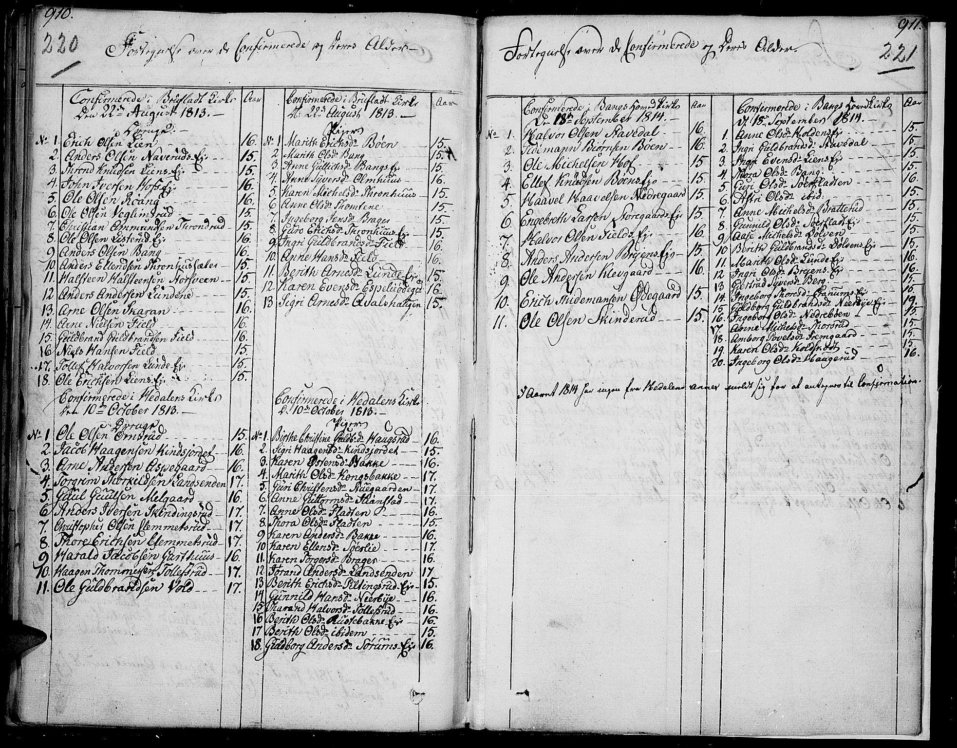 SAH, Sør-Aurdal prestekontor, Ministerialbok nr. 1, 1807-1815, s. 220-221