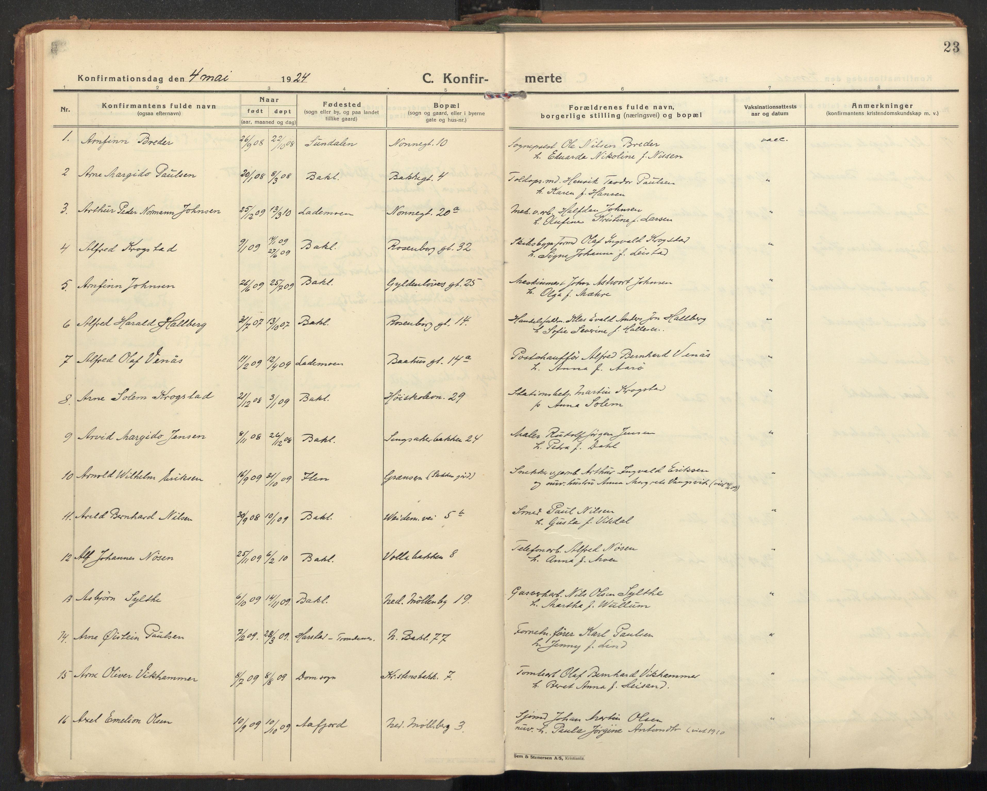 SAT, Ministerialprotokoller, klokkerbøker og fødselsregistre - Sør-Trøndelag, 604/L0208: Ministerialbok nr. 604A28, 1923-1937, s. 23