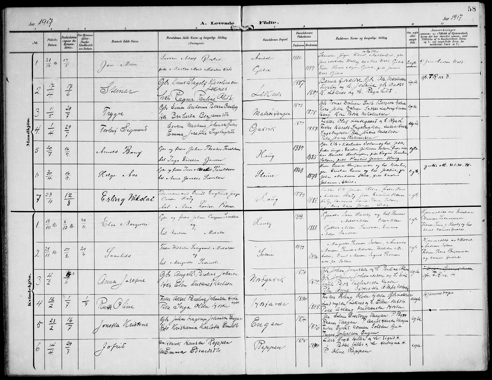 SAT, Ministerialprotokoller, klokkerbøker og fødselsregistre - Nord-Trøndelag, 788/L0698: Ministerialbok nr. 788A05, 1902-1921, s. 58