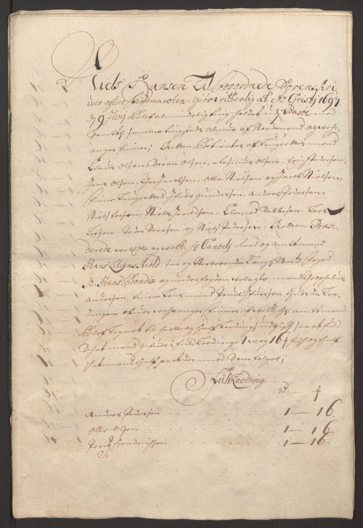 RA, Rentekammeret inntil 1814, Reviderte regnskaper, Fogderegnskap, R69/L4851: Fogderegnskap Finnmark/Vardøhus, 1691-1700, s. 315