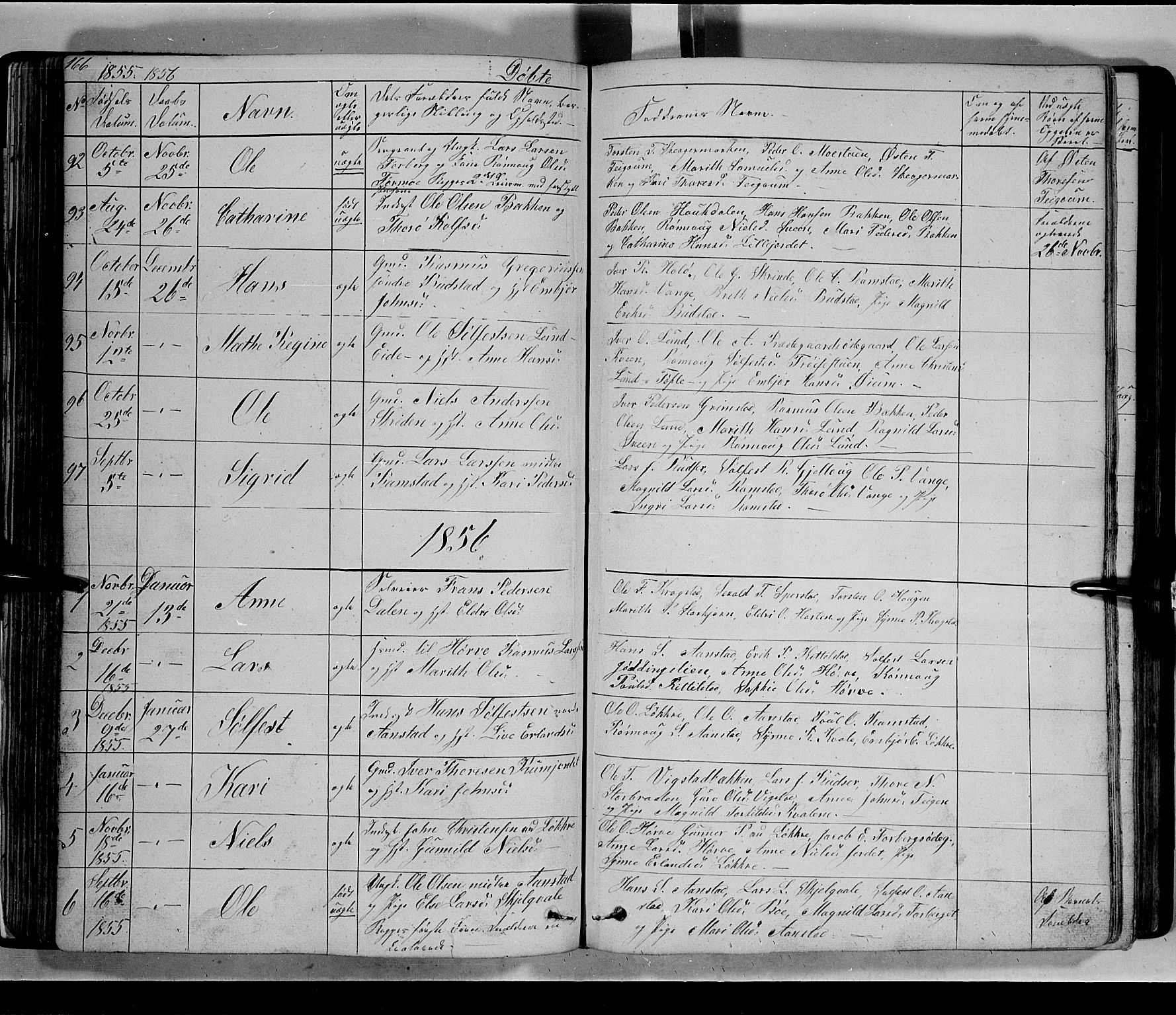 SAH, Lom prestekontor, L/L0004: Klokkerbok nr. 4, 1845-1864, s. 166-167