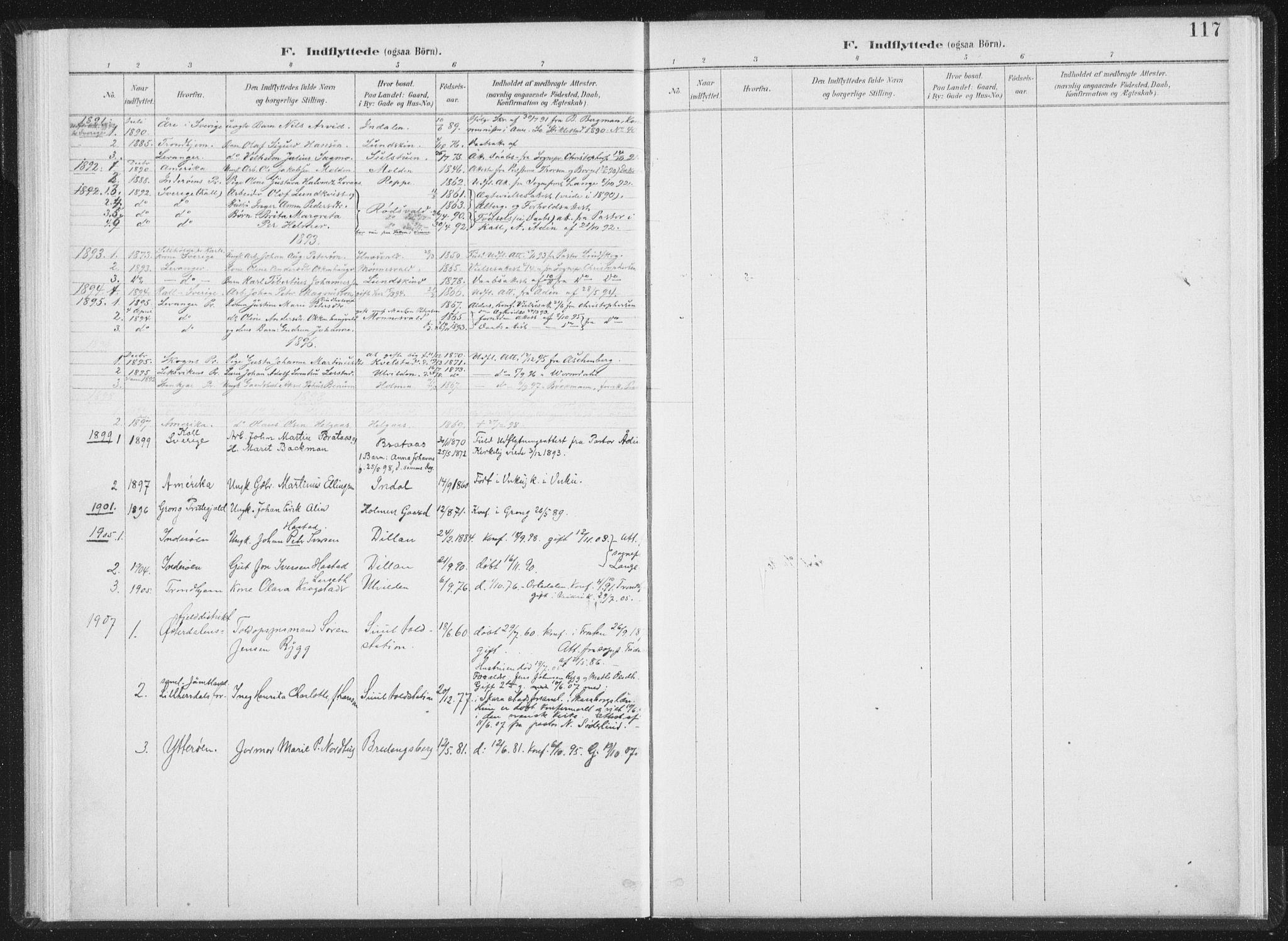 SAT, Ministerialprotokoller, klokkerbøker og fødselsregistre - Nord-Trøndelag, 724/L0263: Ministerialbok nr. 724A01, 1891-1907, s. 117