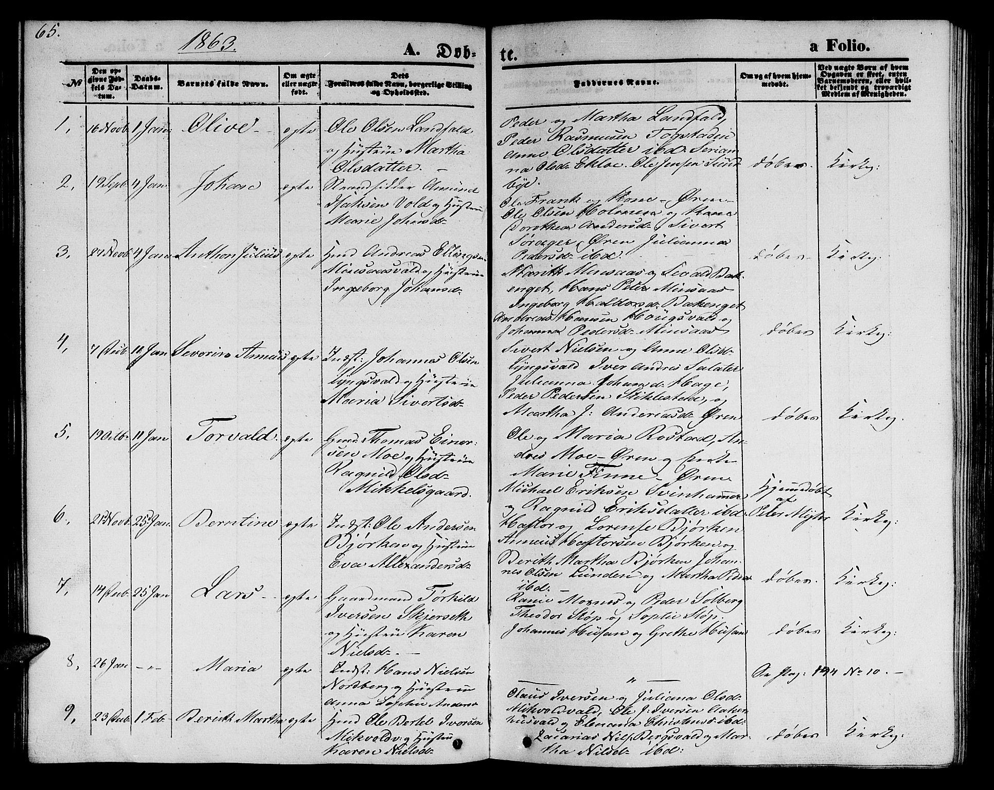 SAT, Ministerialprotokoller, klokkerbøker og fødselsregistre - Nord-Trøndelag, 723/L0254: Klokkerbok nr. 723C02, 1858-1868, s. 65