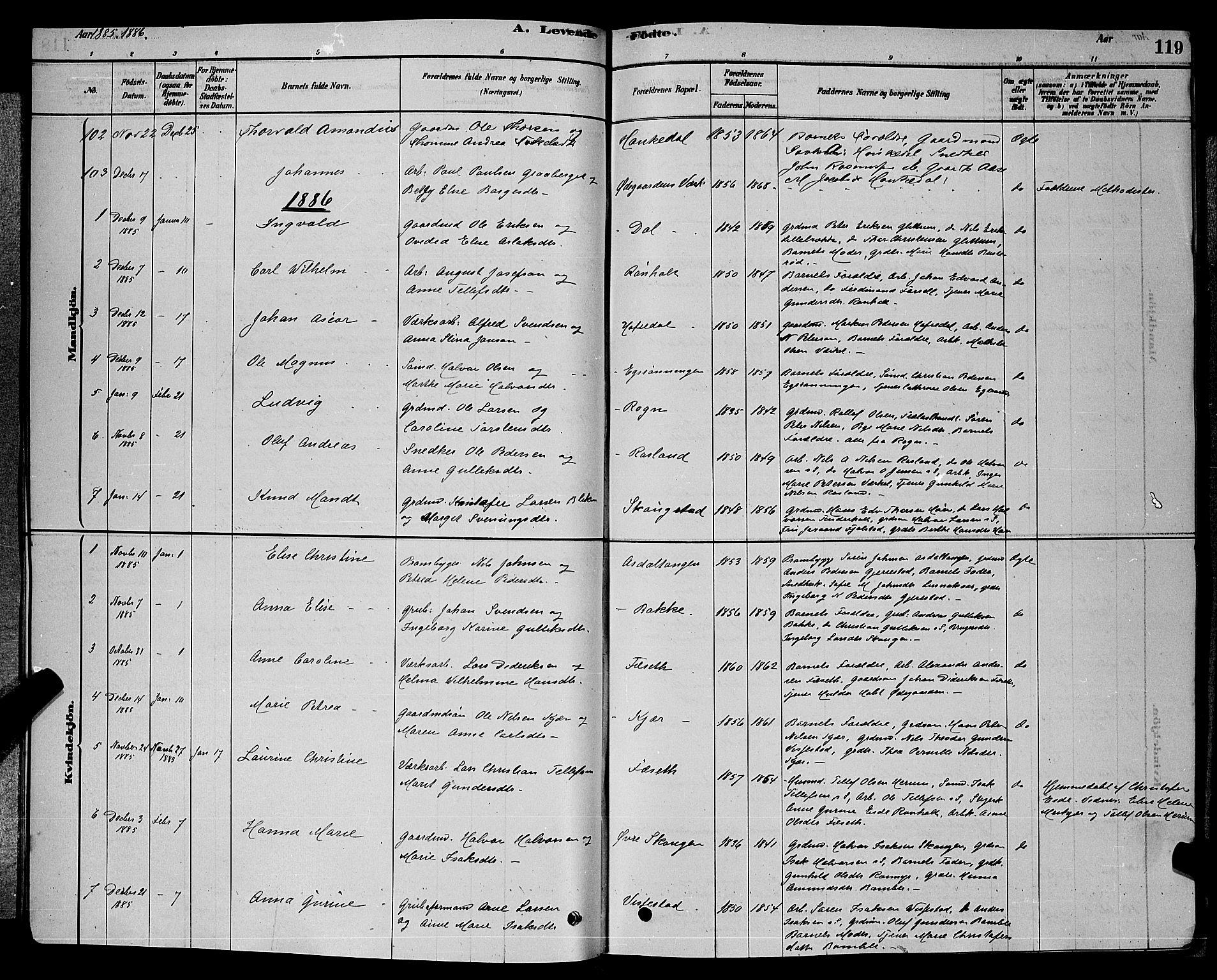 SAKO, Bamble kirkebøker, G/Ga/L0008: Klokkerbok nr. I 8, 1878-1888, s. 119