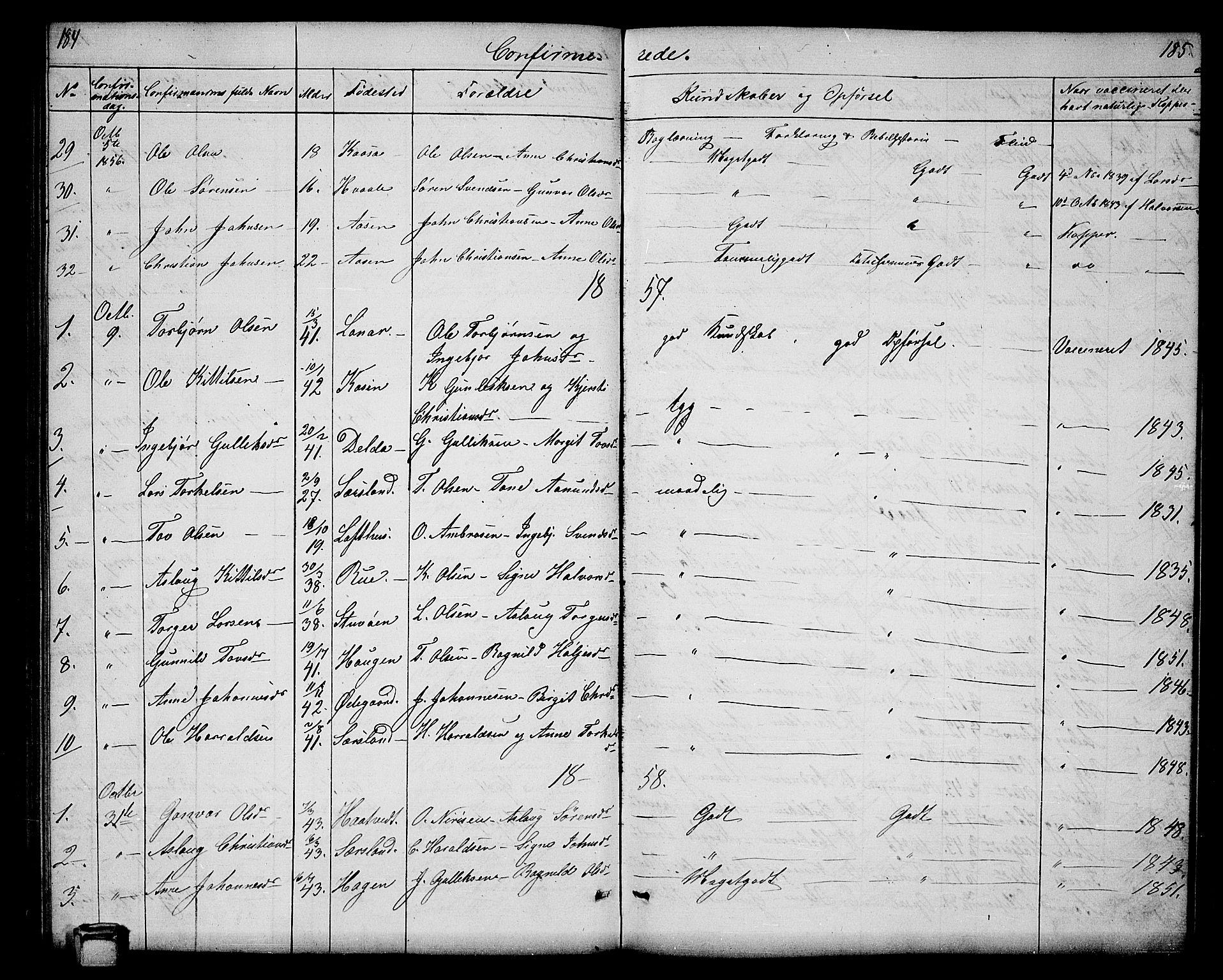 SAKO, Hjartdal kirkebøker, G/Ga/L0002: Klokkerbok nr. I 2, 1854-1888, s. 184-185