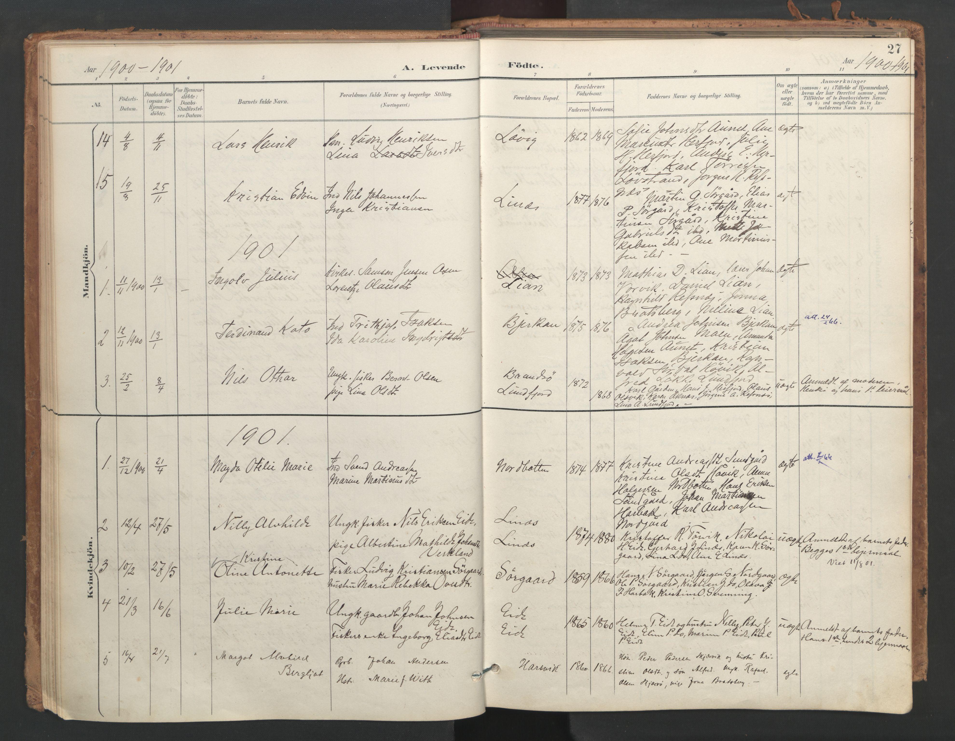 SAT, Ministerialprotokoller, klokkerbøker og fødselsregistre - Sør-Trøndelag, 656/L0693: Ministerialbok nr. 656A02, 1894-1913, s. 27