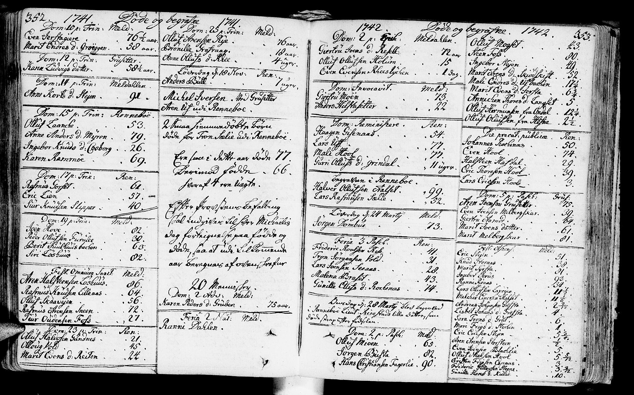 SAT, Ministerialprotokoller, klokkerbøker og fødselsregistre - Sør-Trøndelag, 672/L0850: Ministerialbok nr. 672A03, 1725-1751, s. 352-353
