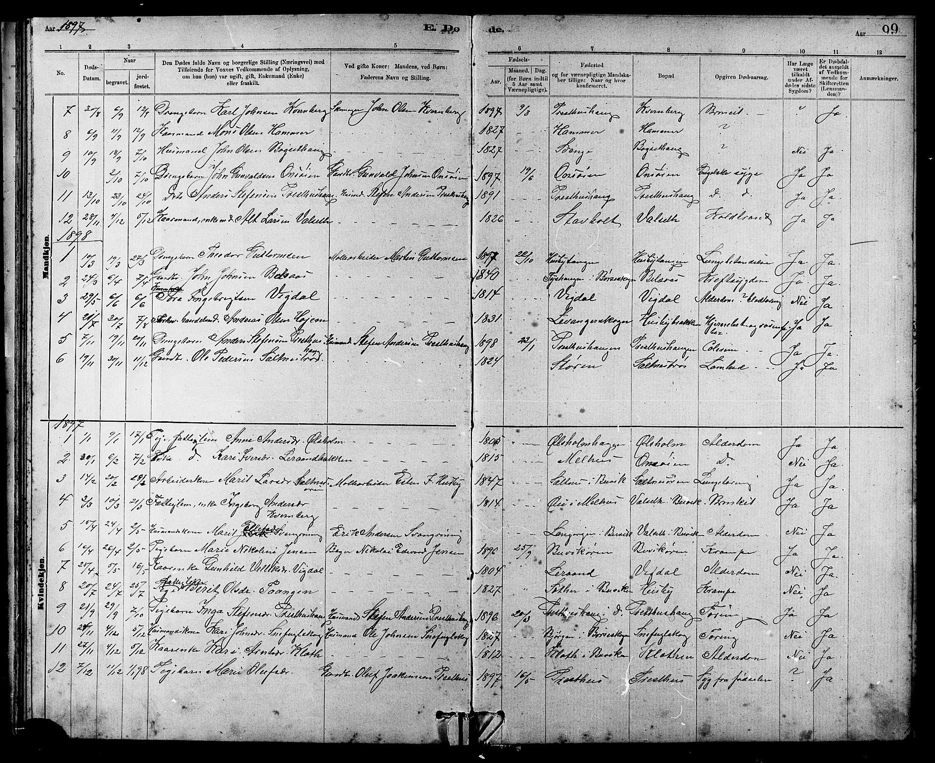 SAT, Ministerialprotokoller, klokkerbøker og fødselsregistre - Sør-Trøndelag, 666/L0790: Klokkerbok nr. 666C03, 1885-1908, s. 99
