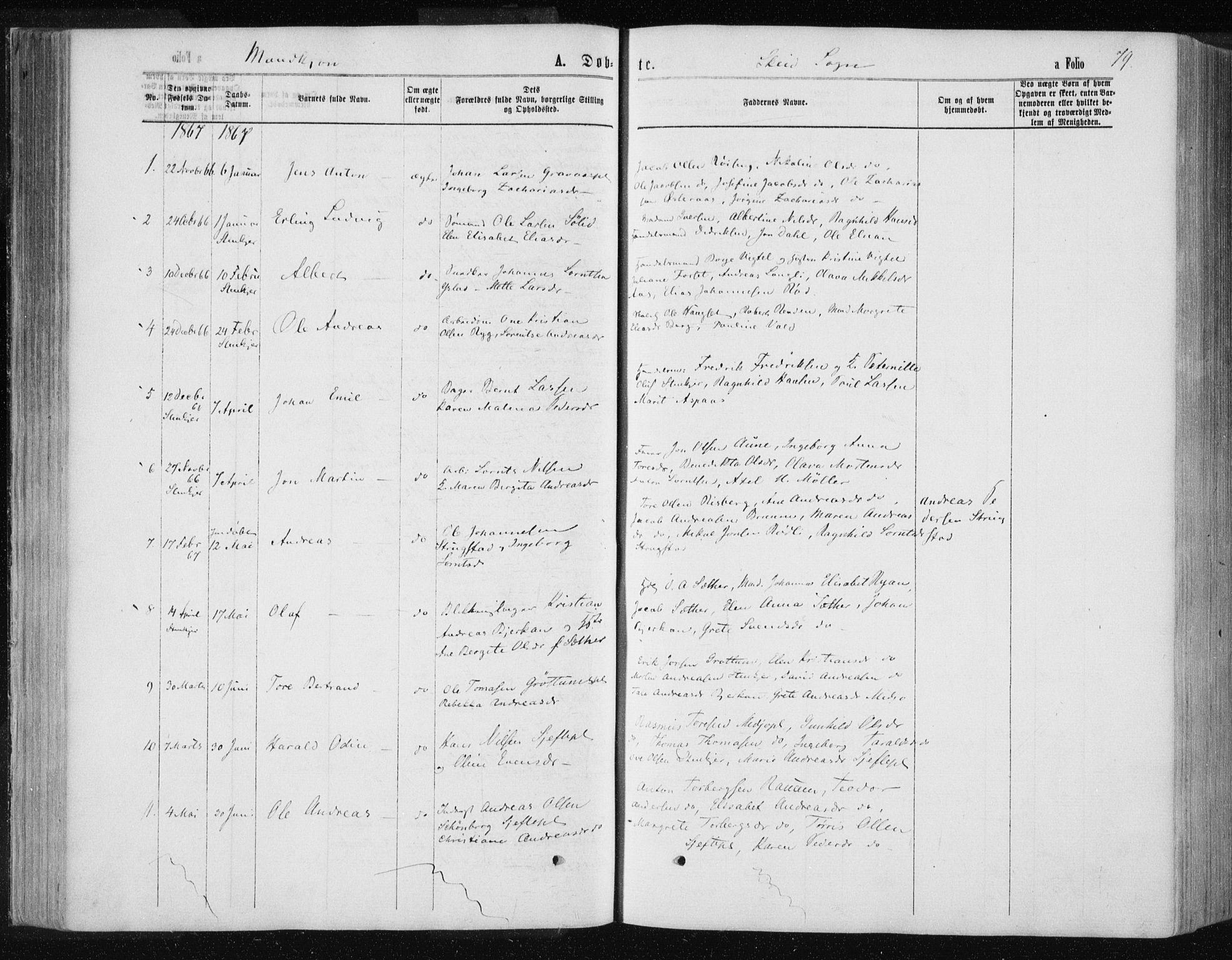 SAT, Ministerialprotokoller, klokkerbøker og fødselsregistre - Nord-Trøndelag, 735/L0345: Ministerialbok nr. 735A08 /2, 1863-1872, s. 79
