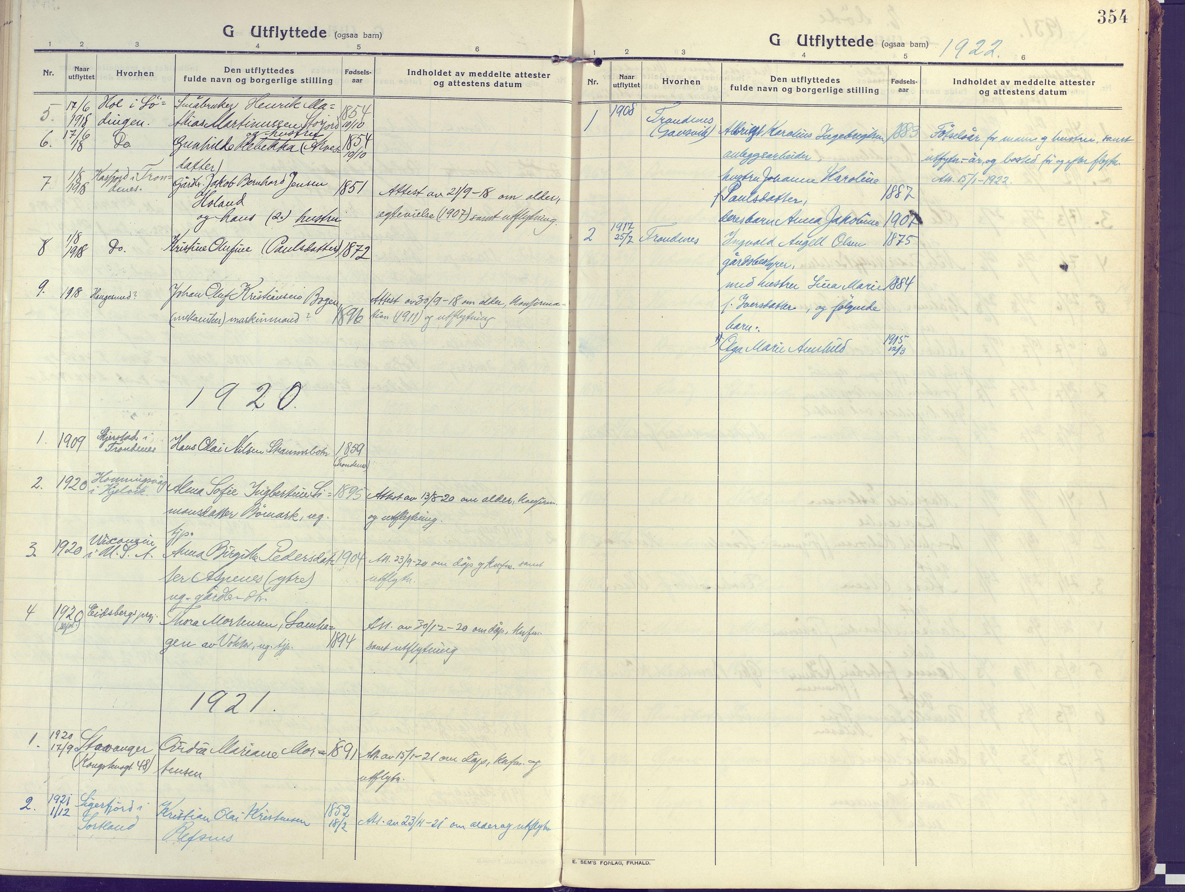 SATØ, Kvæfjord sokneprestkontor, G/Ga/Gaa/L0007kirke: Ministerialbok nr. 7, 1915-1931, s. 354