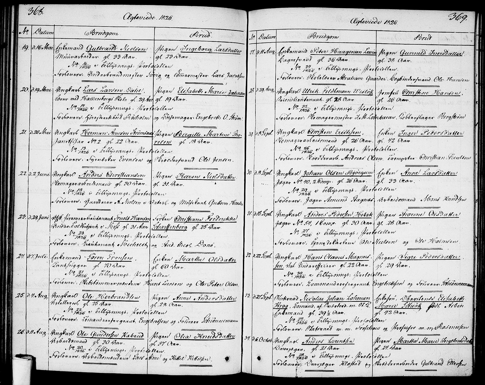 SAO, Garnisonsmenigheten Kirkebøker, F/Fa/L0004: Ministerialbok nr. 4, 1820-1828, s. 368-369