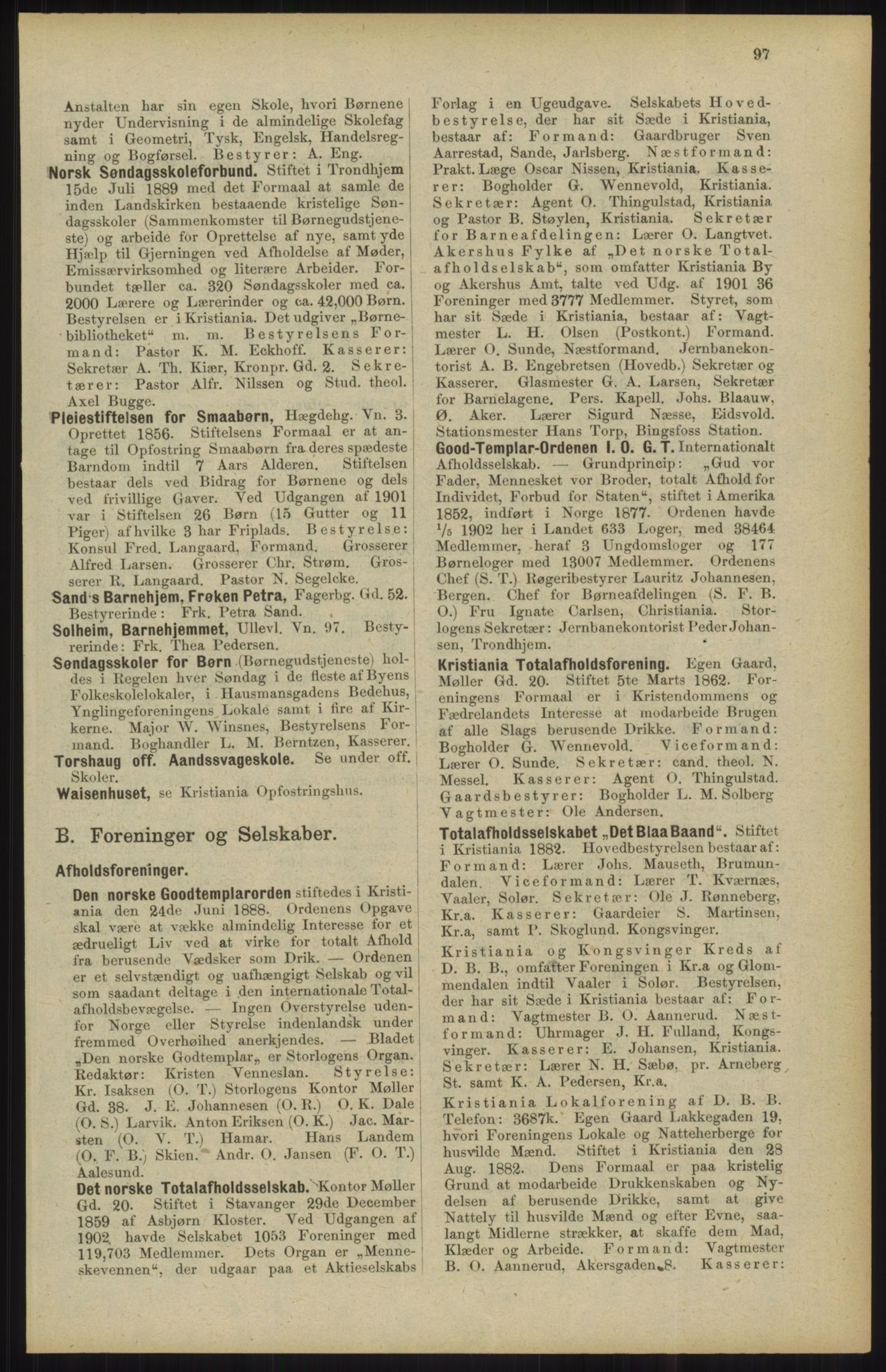RA, Kristiania adressebok (publikasjon)*, 1904, s. 97