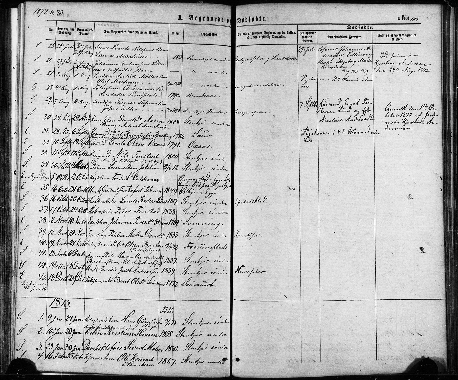 SAT, Ministerialprotokoller, klokkerbøker og fødselsregistre - Nord-Trøndelag, 739/L0370: Ministerialbok nr. 739A02, 1868-1881, s. 143
