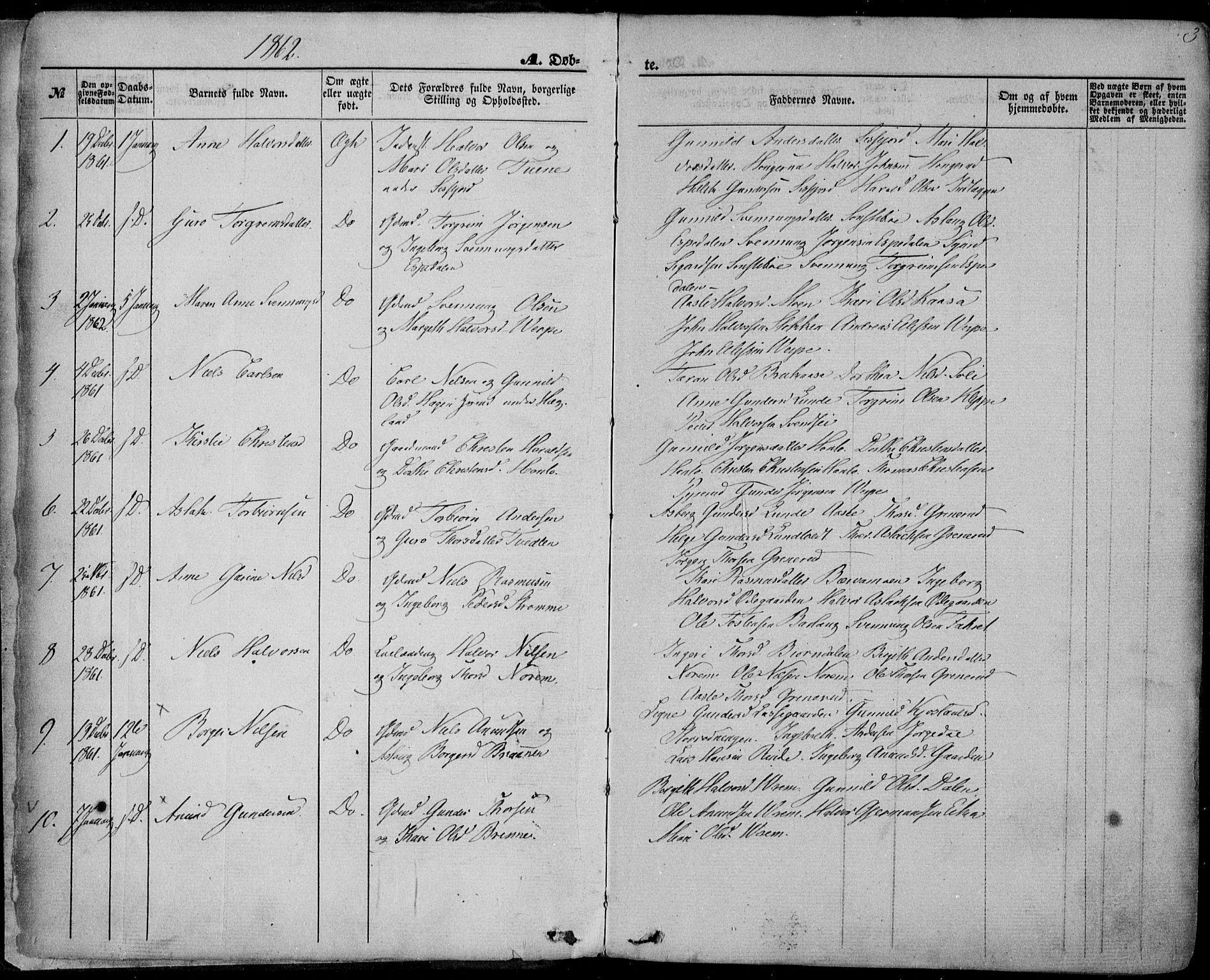 SAKO, Bø kirkebøker, F/Fa/L0009: Ministerialbok nr. 9, 1862-1879, s. 3
