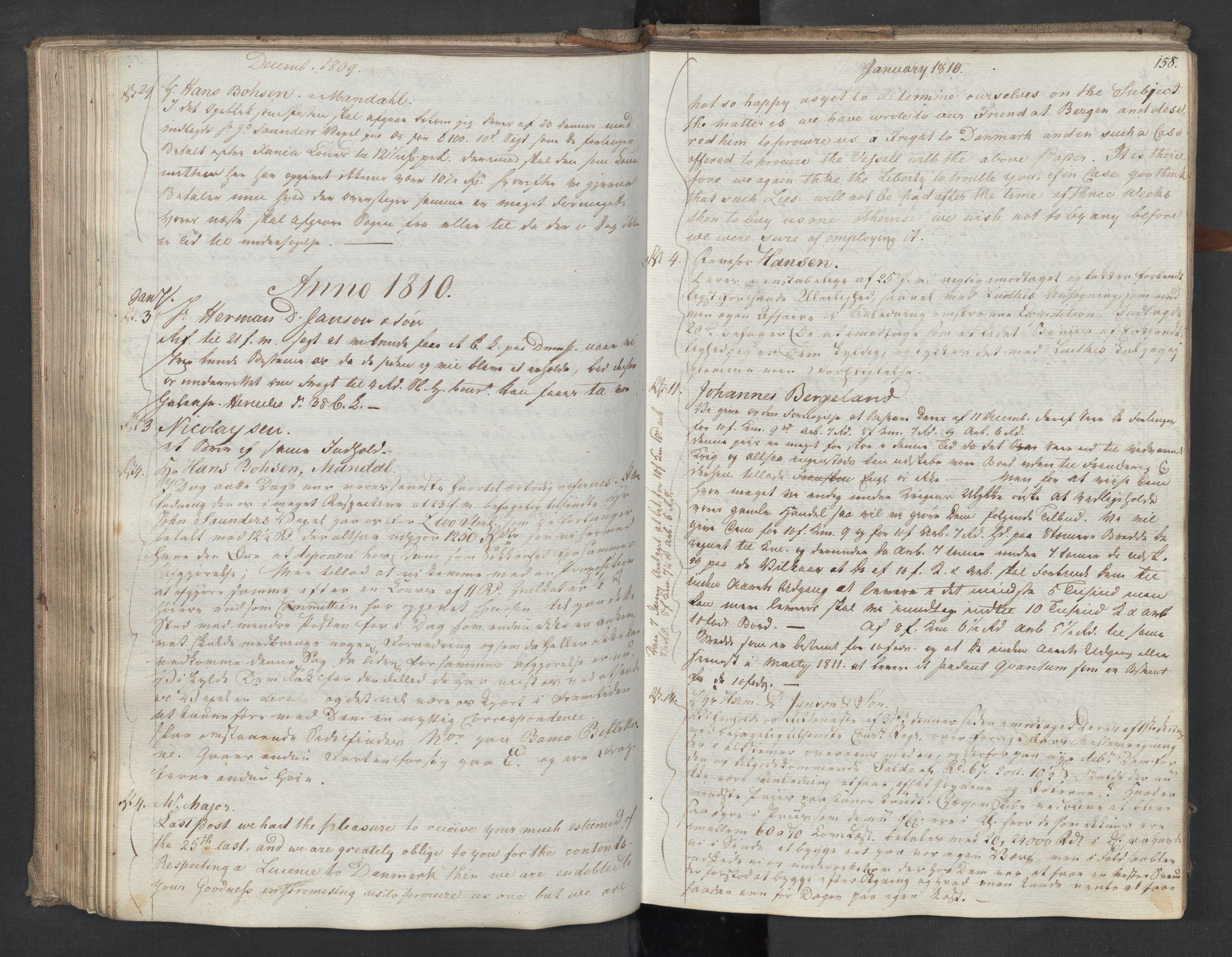 SAST, Pa 0003 - Ploug & Sundt, handelshuset, B/L0009: Kopibok, 1805-1816, s. 157b-158a