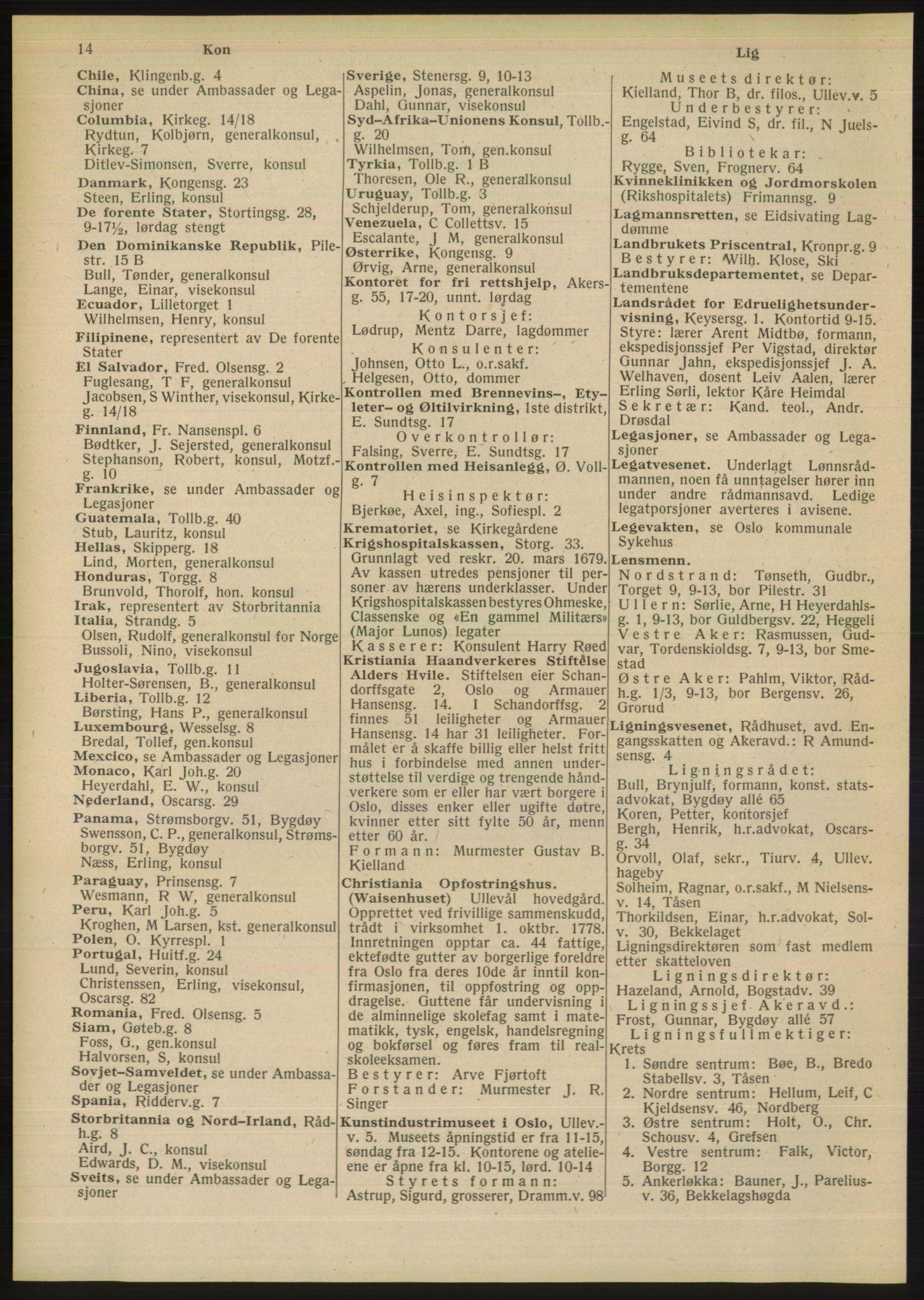 RA, Oslo adressebok (publikasjon)*, 1948, s. 14