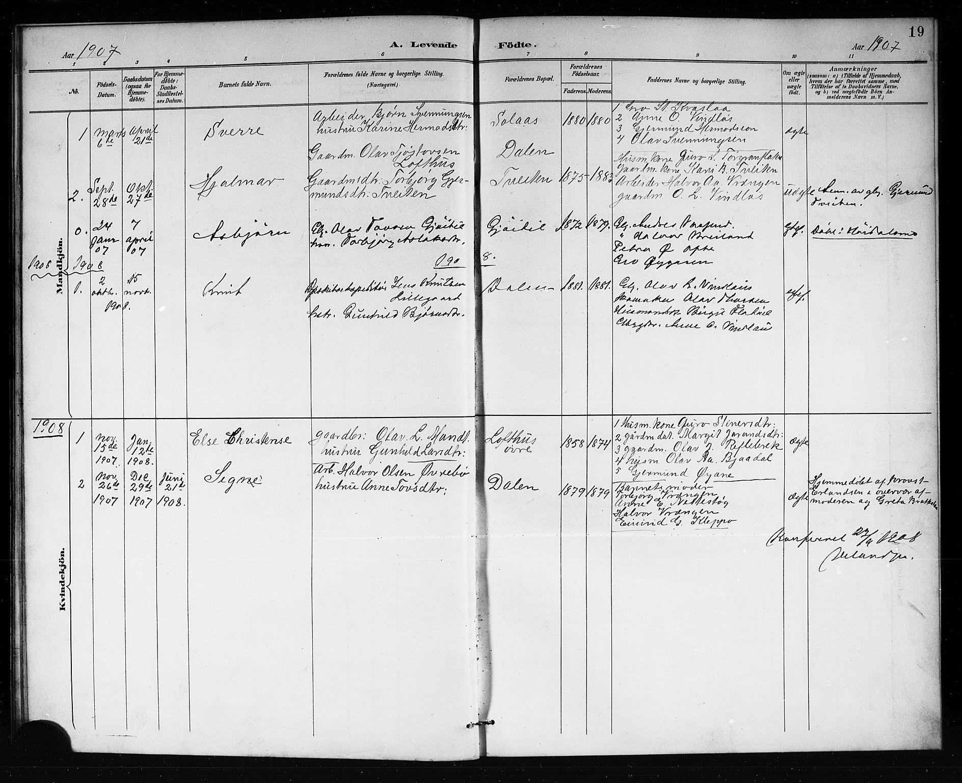 SAKO, Lårdal kirkebøker, G/Gb/L0003: Klokkerbok nr. II 3, 1889-1920, s. 19