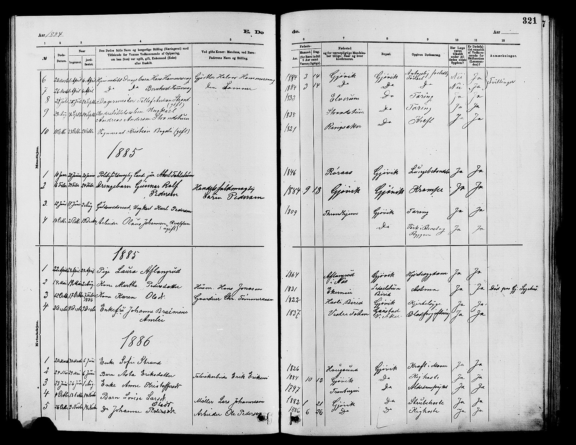 SAH, Vardal prestekontor, H/Ha/Hab/L0007: Klokkerbok nr. 7 /2, 1881-1895, s. 321
