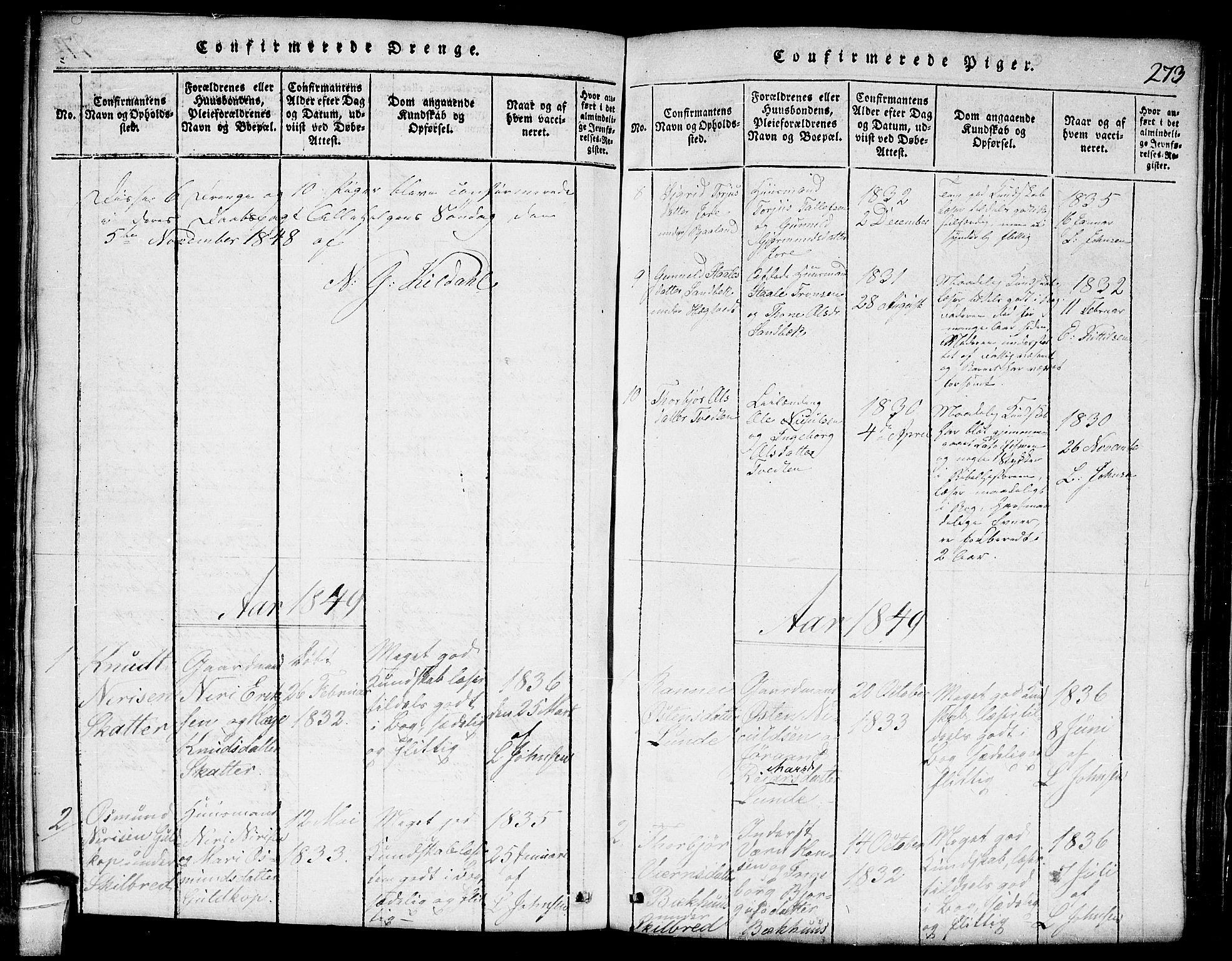 SAKO, Lårdal kirkebøker, G/Ga/L0001: Klokkerbok nr. I 1, 1815-1861, s. 273