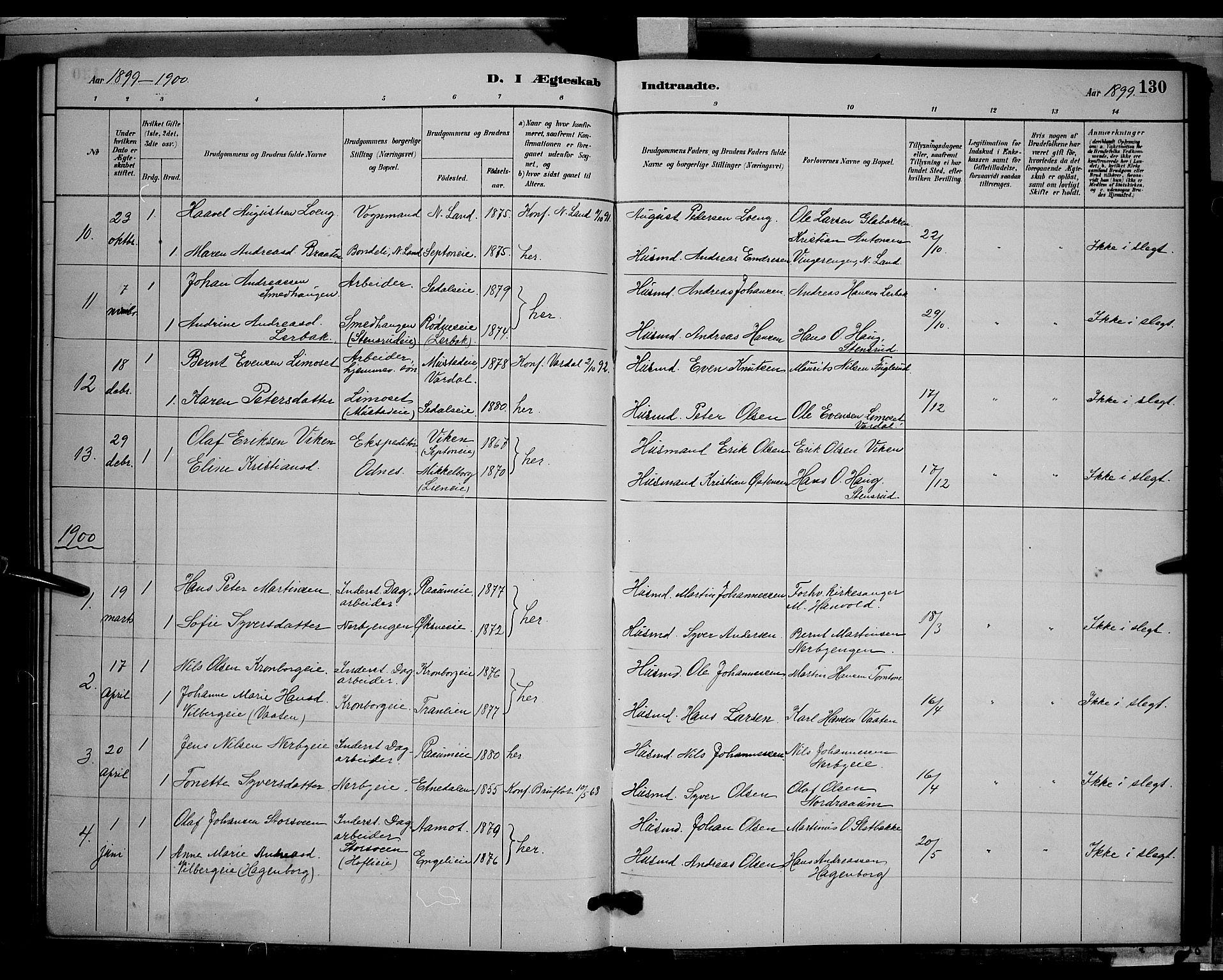 SAH, Søndre Land prestekontor, L/L0003: Klokkerbok nr. 3, 1884-1902, s. 130