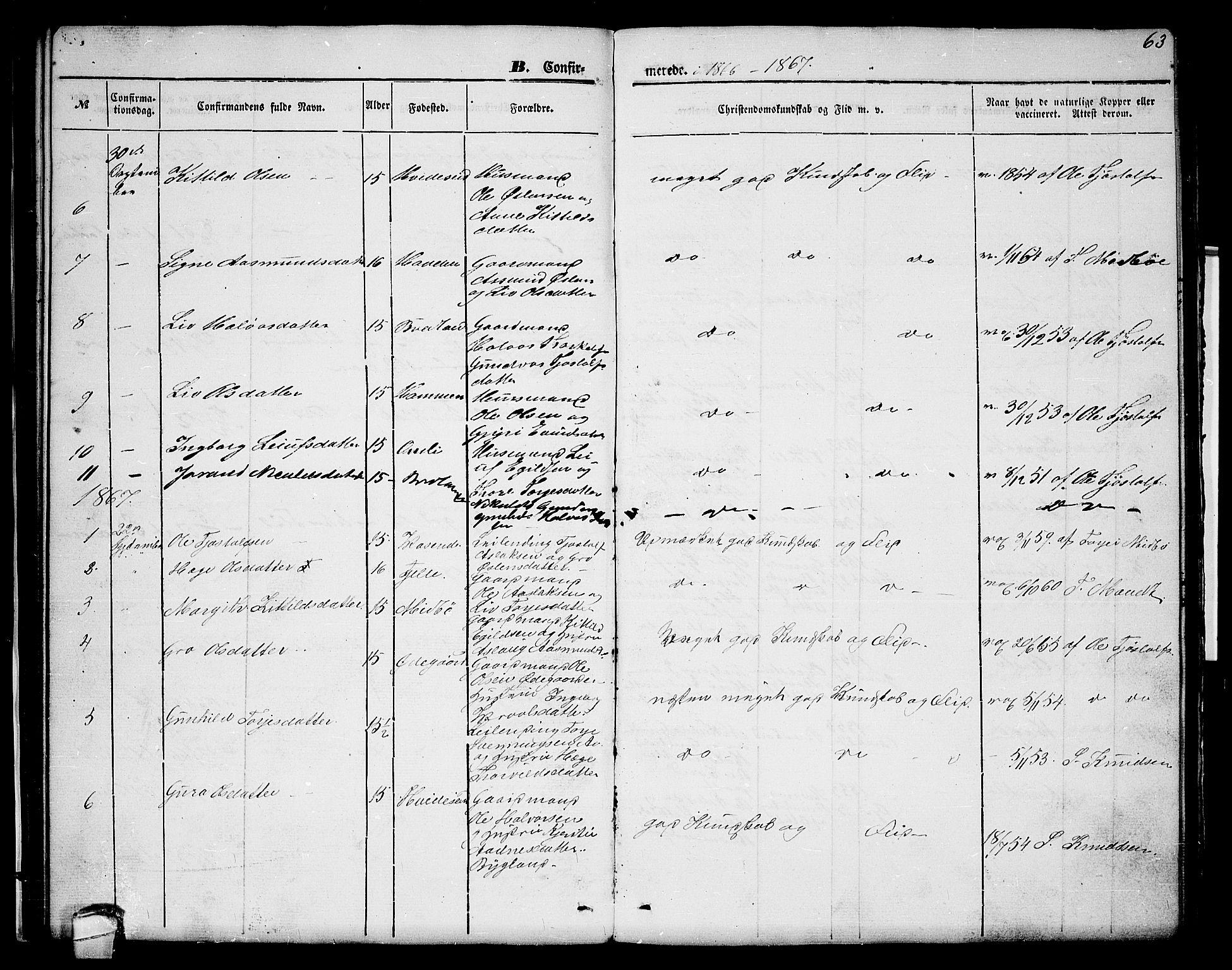 SAKO, Lårdal kirkebøker, G/Gc/L0002: Klokkerbok nr. III 2, 1852-1877, s. 63