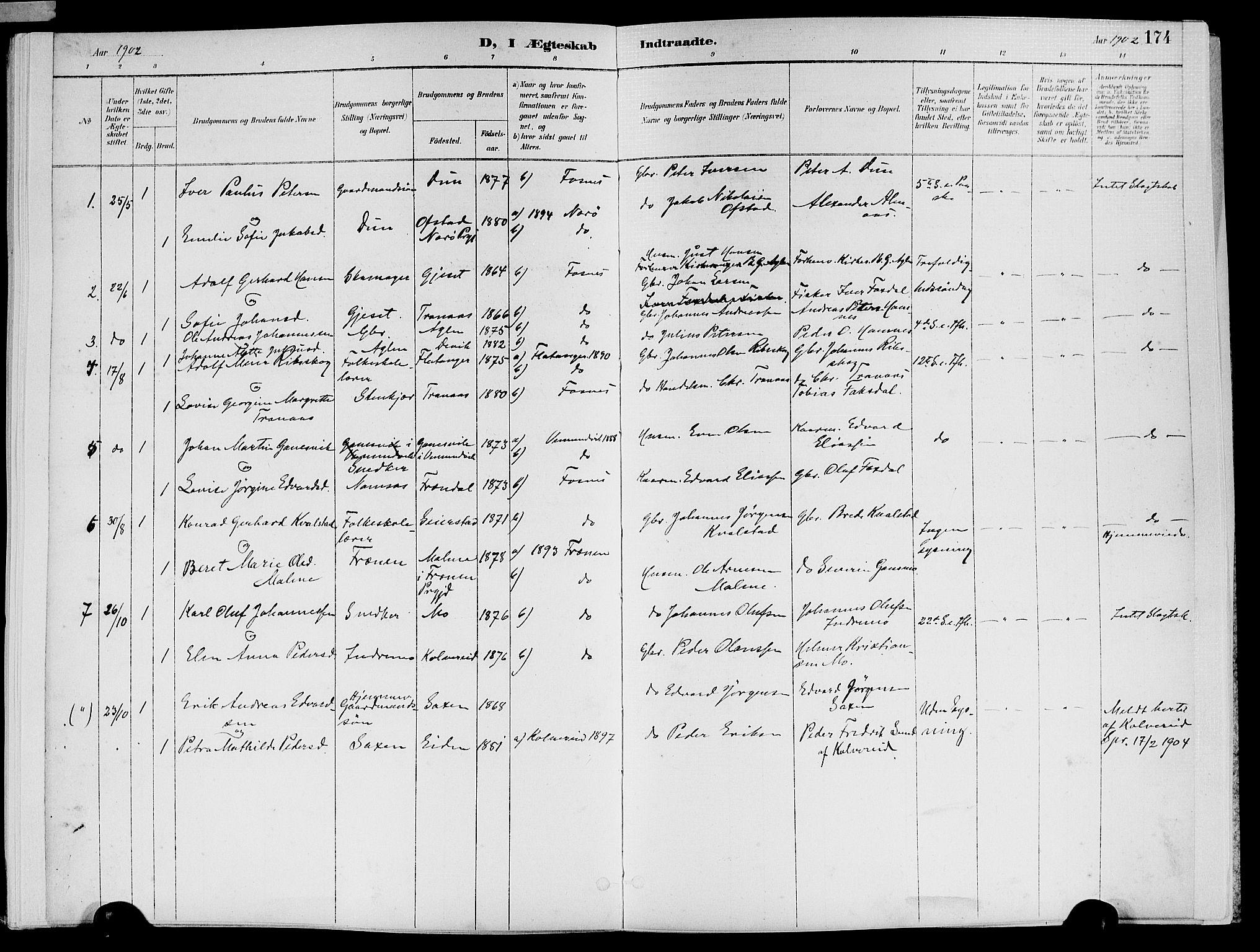 SAT, Ministerialprotokoller, klokkerbøker og fødselsregistre - Nord-Trøndelag, 773/L0617: Ministerialbok nr. 773A08, 1887-1910, s. 174