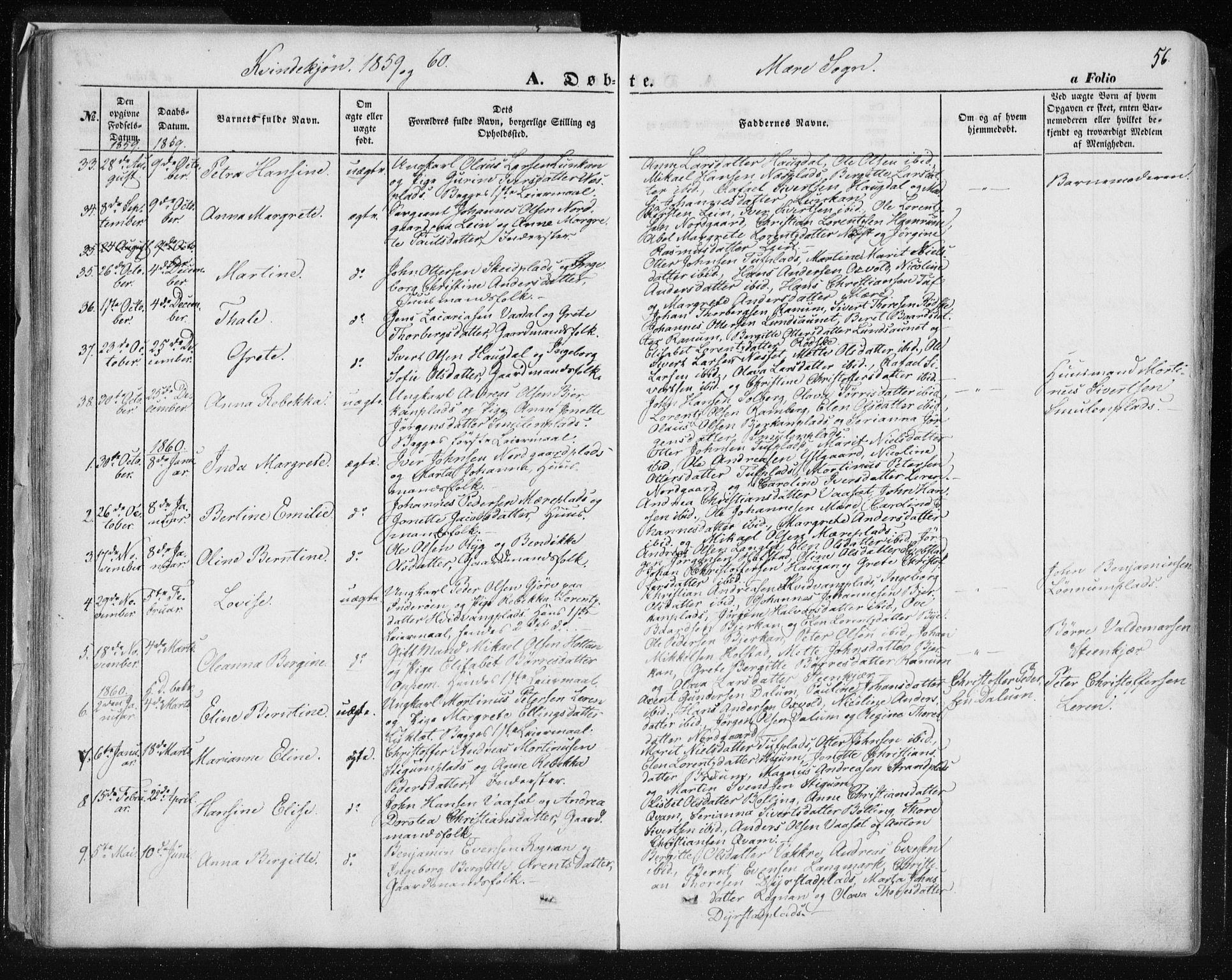 SAT, Ministerialprotokoller, klokkerbøker og fødselsregistre - Nord-Trøndelag, 735/L0342: Ministerialbok nr. 735A07 /1, 1849-1862, s. 56