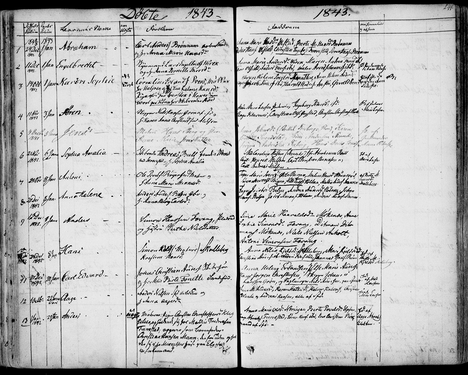 SAKO, Sandar kirkebøker, F/Fa/L0005: Ministerialbok nr. 5, 1832-1847, s. 240-241