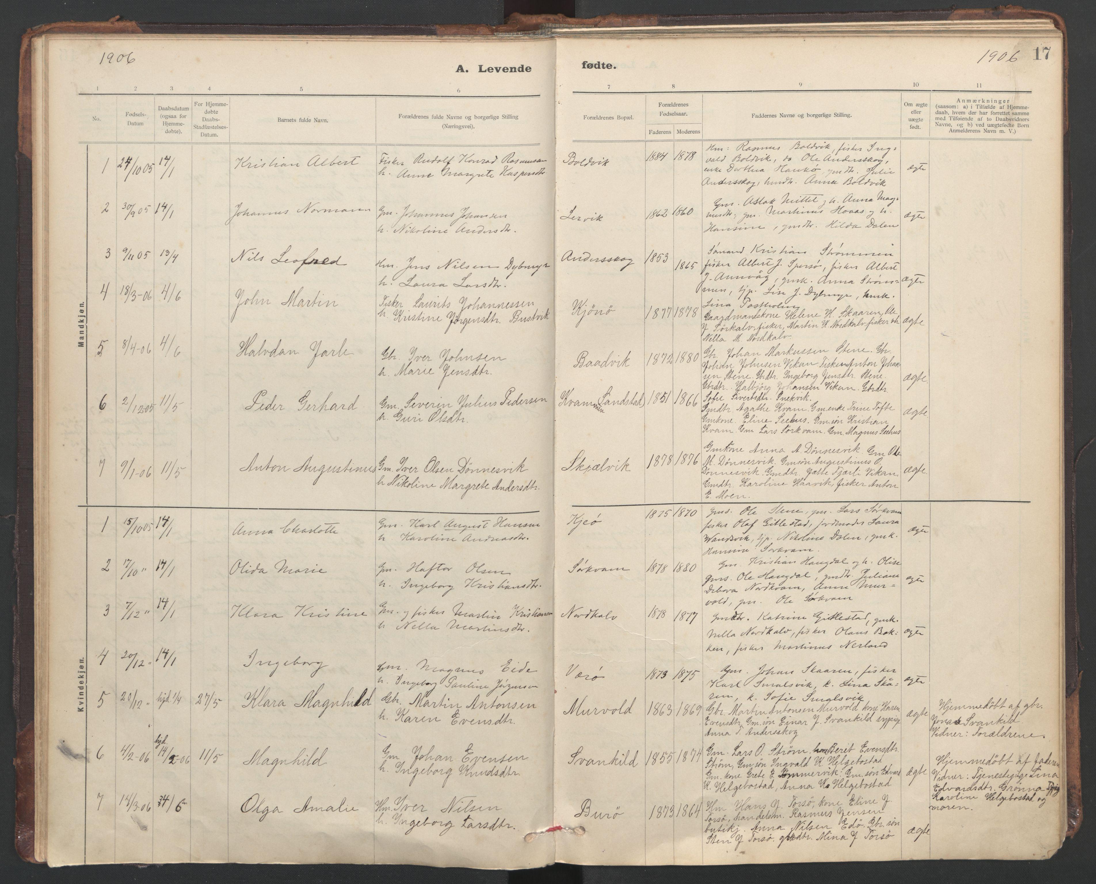 SAT, Ministerialprotokoller, klokkerbøker og fødselsregistre - Sør-Trøndelag, 635/L0552: Ministerialbok nr. 635A02, 1899-1919, s. 17