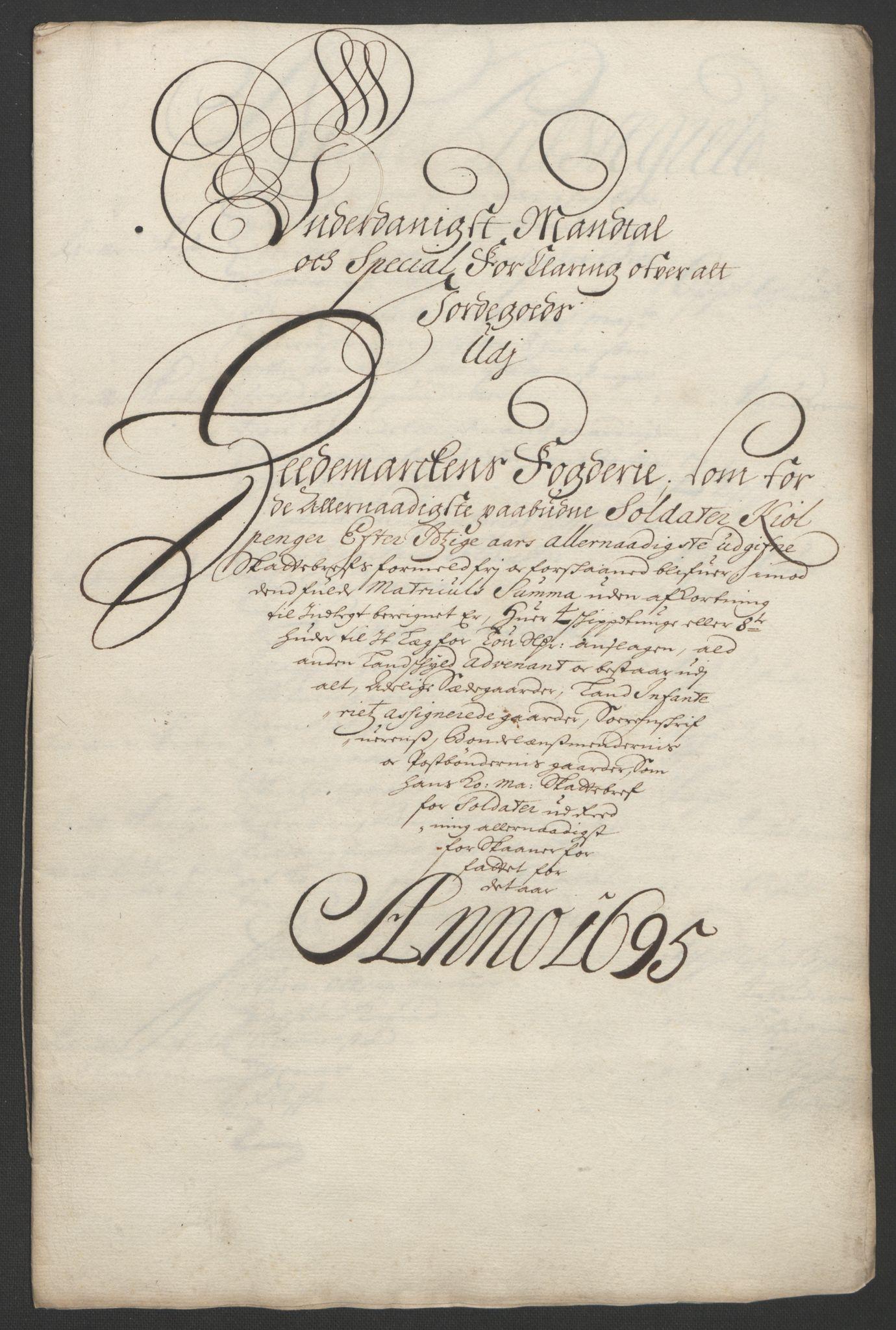 RA, Rentekammeret inntil 1814, Reviderte regnskaper, Fogderegnskap, R16/L1036: Fogderegnskap Hedmark, 1695-1696, s. 217