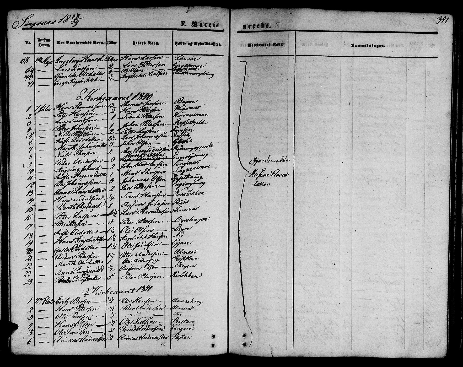 SAT, Ministerialprotokoller, klokkerbøker og fødselsregistre - Sør-Trøndelag, 685/L0961: Ministerialbok nr. 685A05 /2, 1829-1845, s. 351