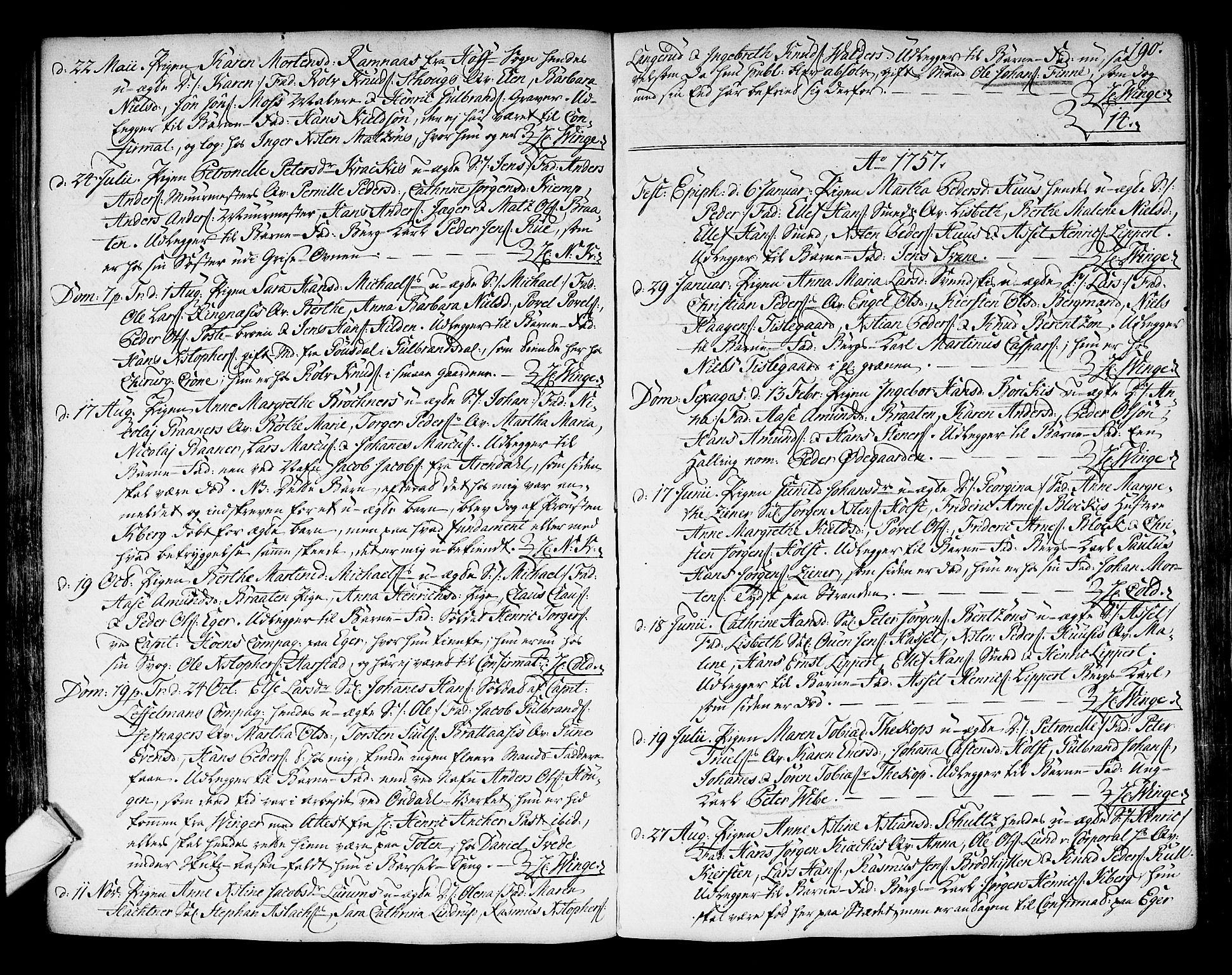 SAKO, Kongsberg kirkebøker, F/Fa/L0004: Ministerialbok nr. I 4, 1756-1768, s. 190