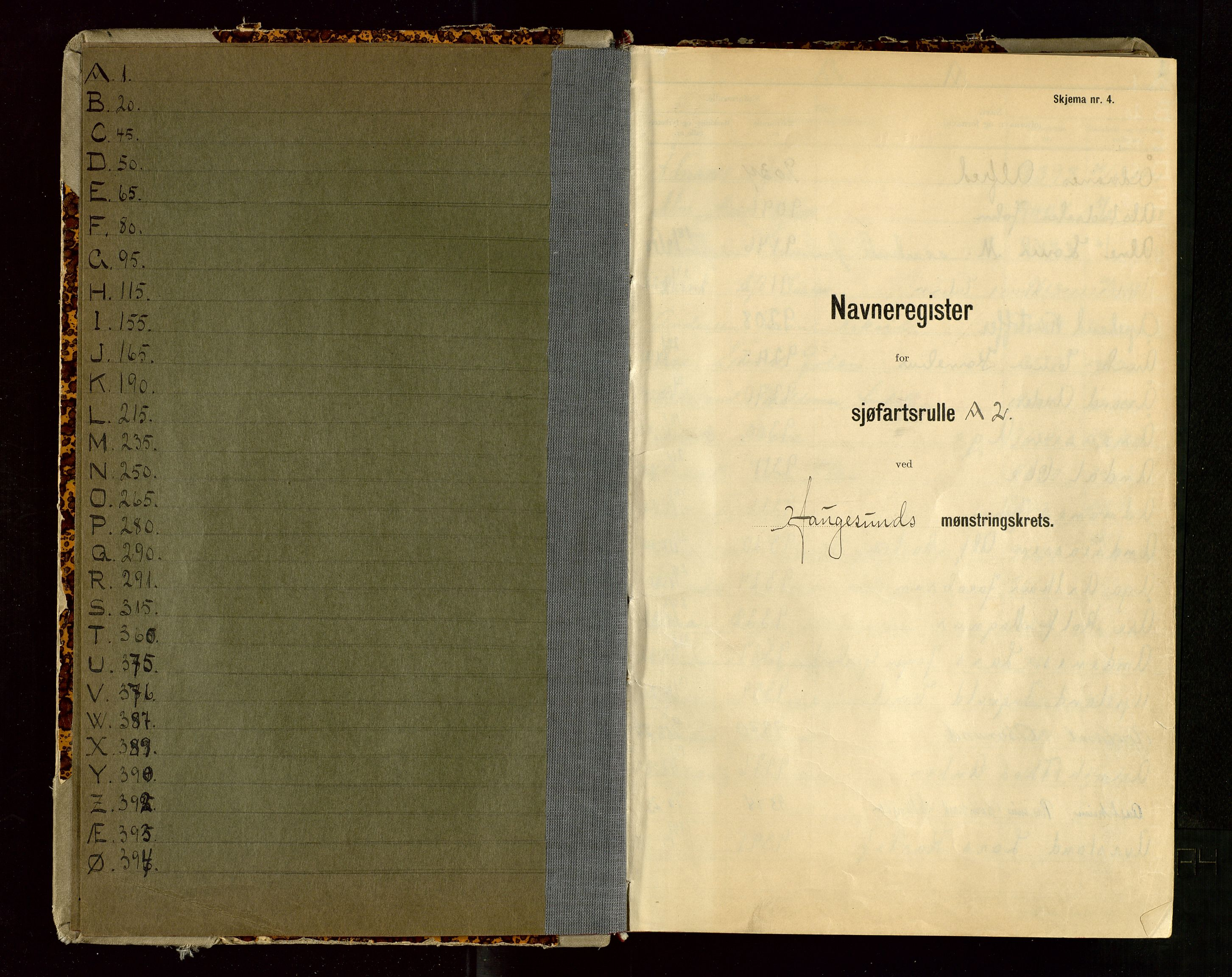 SAST, Haugesund sjømannskontor, F/Fb/Fba/L0007: Navneregister med henvisning til rullenummer (etternavn) Haugesund krets , 1944