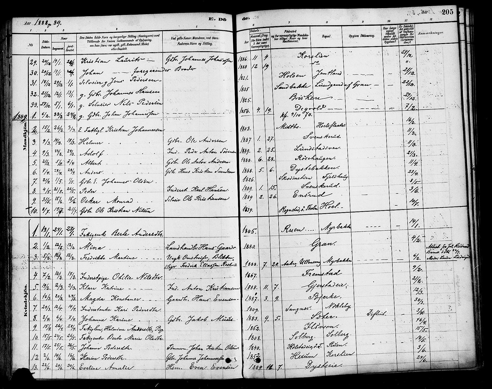 SAH, Vestre Toten prestekontor, Ministerialbok nr. 10, 1878-1894, s. 205